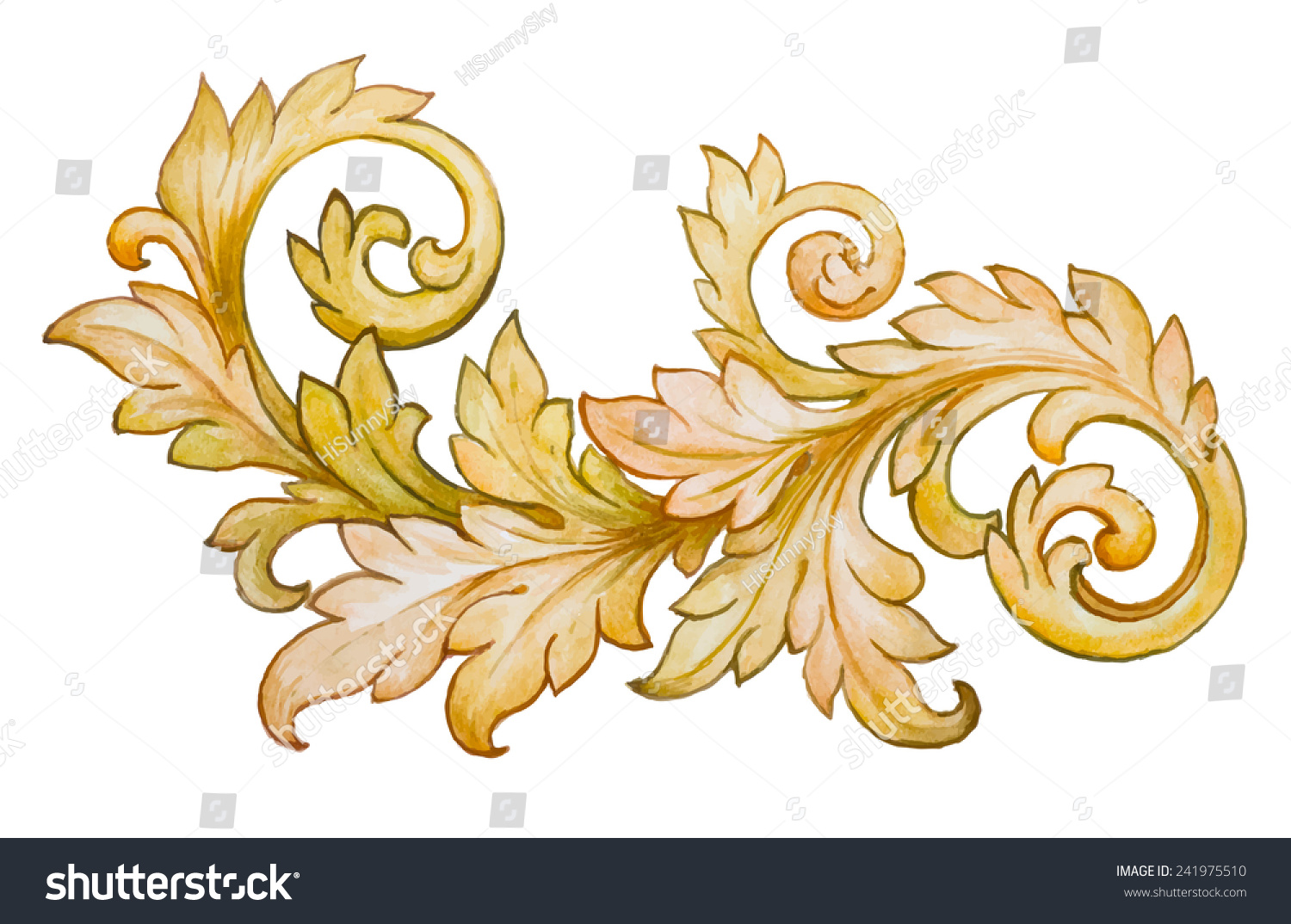 Vintage Baroque Floral Scroll Foliage Ornament Stock ...