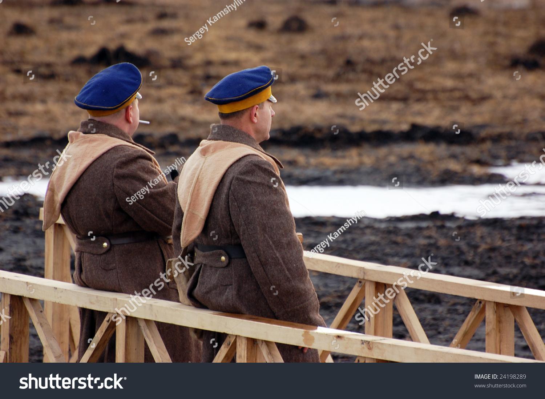 Men in Russian uniform 1918. Civil War Historical military reenacting. Kiev, Ukraine February 2, 2008