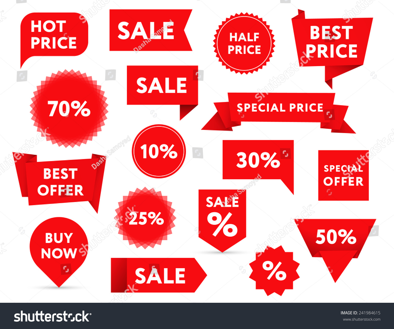 Set Red Sale Banners Different Shapes Stock Vector 241984615 ...