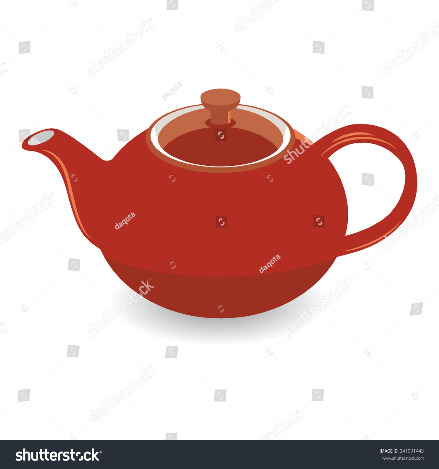 Isolated Brown Clay Tea Pot, Vector Illustration ...