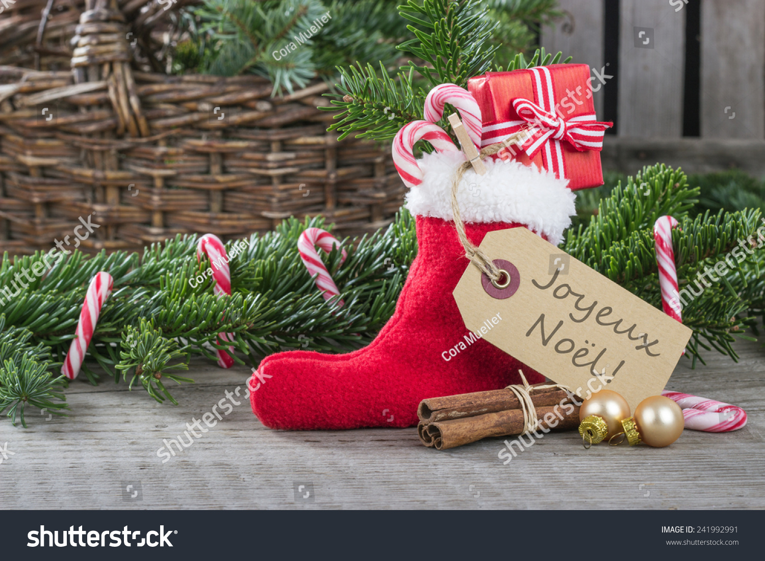 French Christmas Card Red Sock Gifts Stock Photo (Edit Now ...