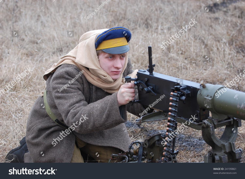 KIEV, UKRAINE - FEBRUARY 2, 2008. A member of the military history  club, Red Star, wears a historical military Russian Civil War uniform circa 1918 in Kiev, Ukraine on February 2, 2008.