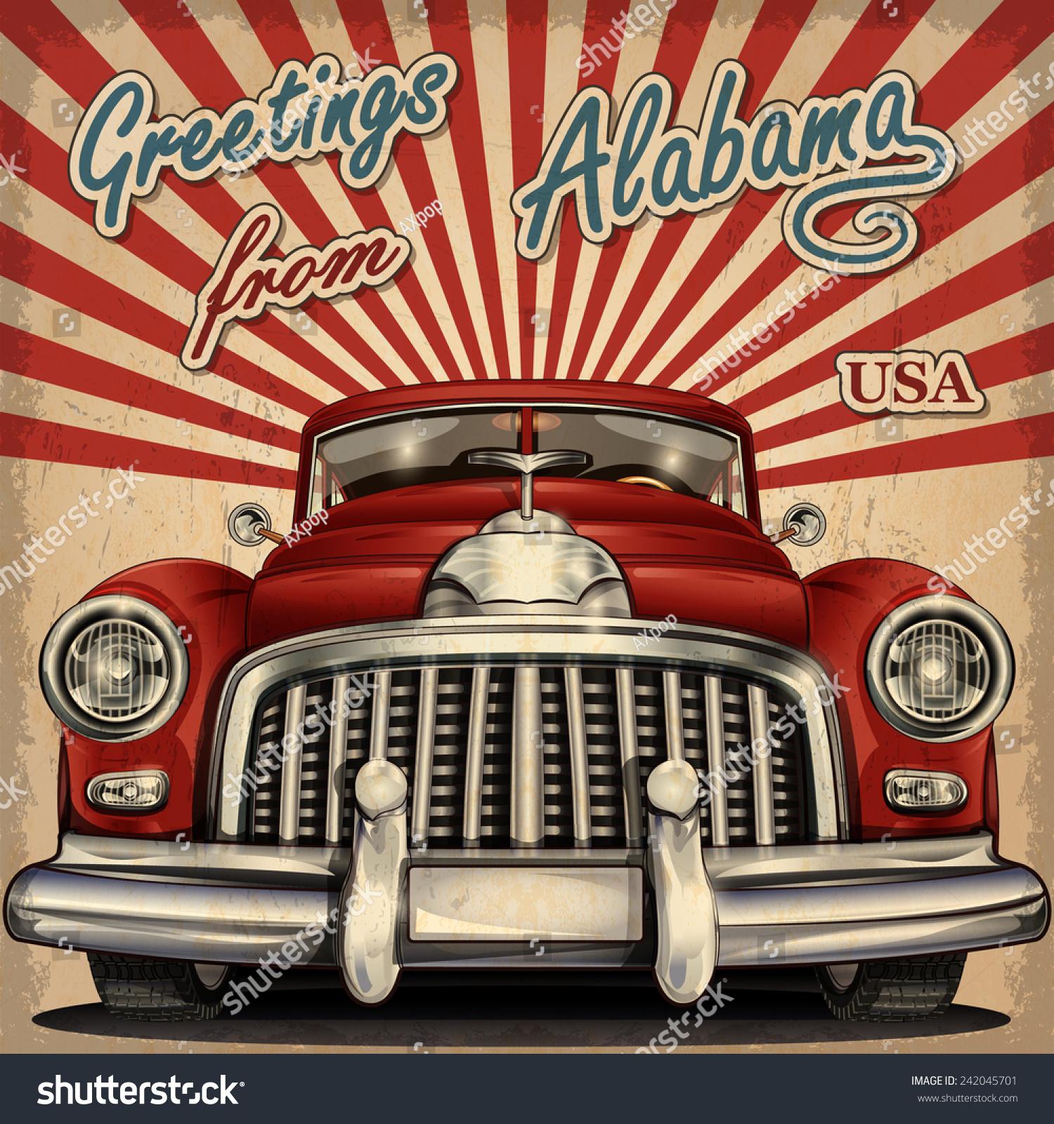 Vintage Touristic Greeting Card Retro Car Alabama Stock Vector (2018 ...