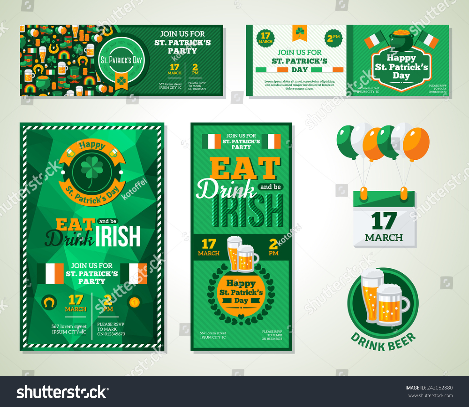 Set happy st patricks day greeting stock vector 242052880 for Irish menu templates