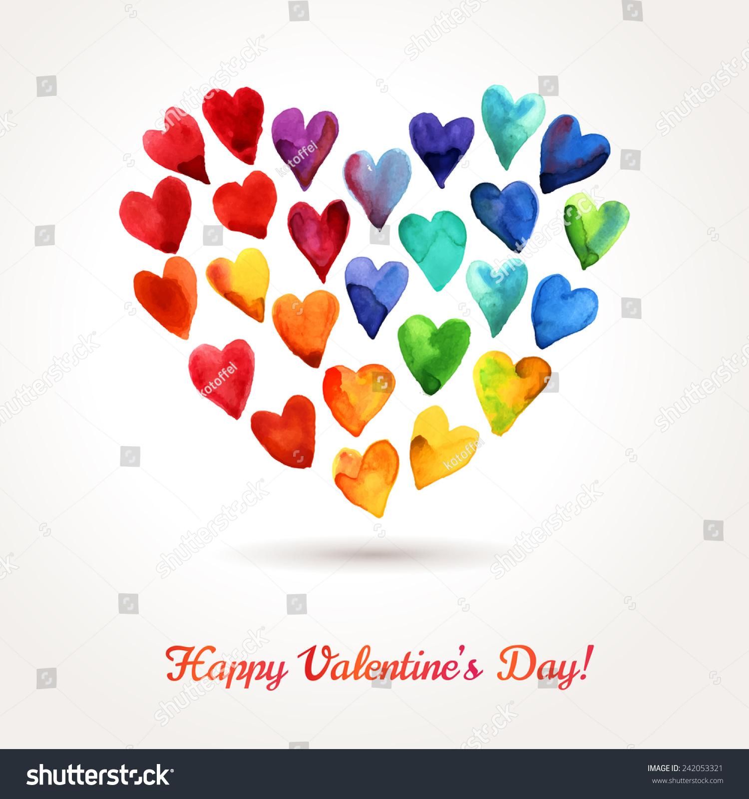 watercolor happy valentines day hearts cloud stock vector
