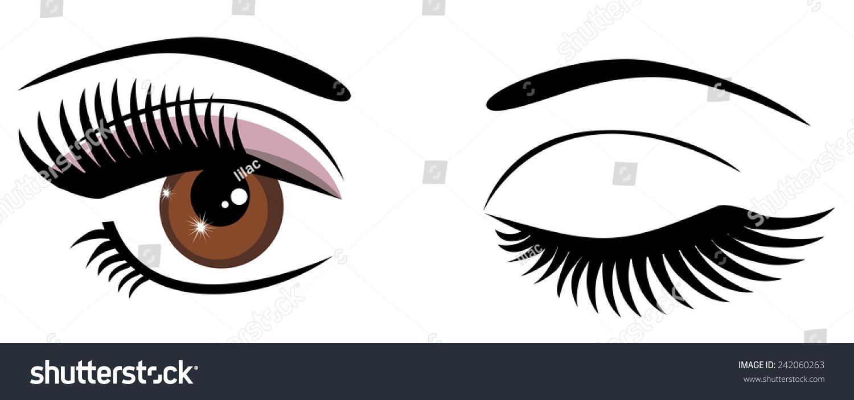 vector brown eyes winking stock vector royalty free 242060263 rh shutterstock com Large Winking Eye Clip Art Large Winking Eye Clip Art