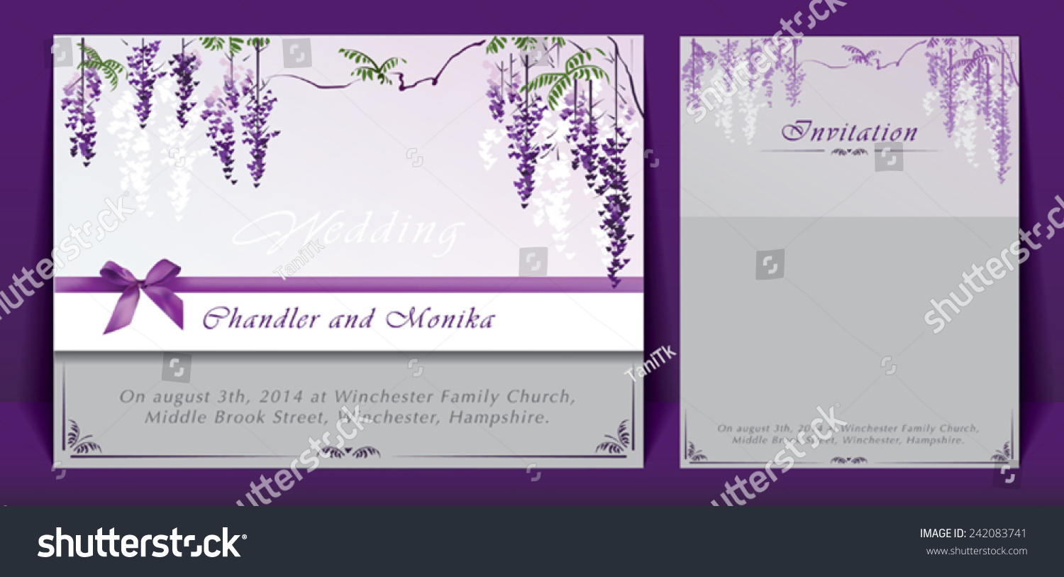 Wedding Invitation Decorated Bunches Flowers Bow Stock Photo (Photo ...