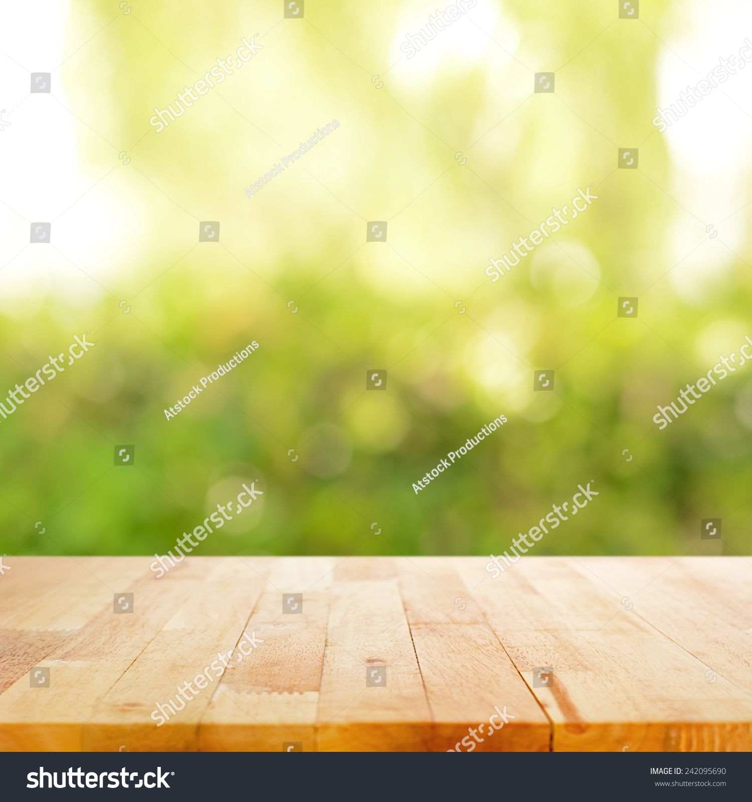 Wood Table Top On Blurred Beach Background Vintage Tone: Wood Table Top On Bokeh Green Stock Photo 242095690