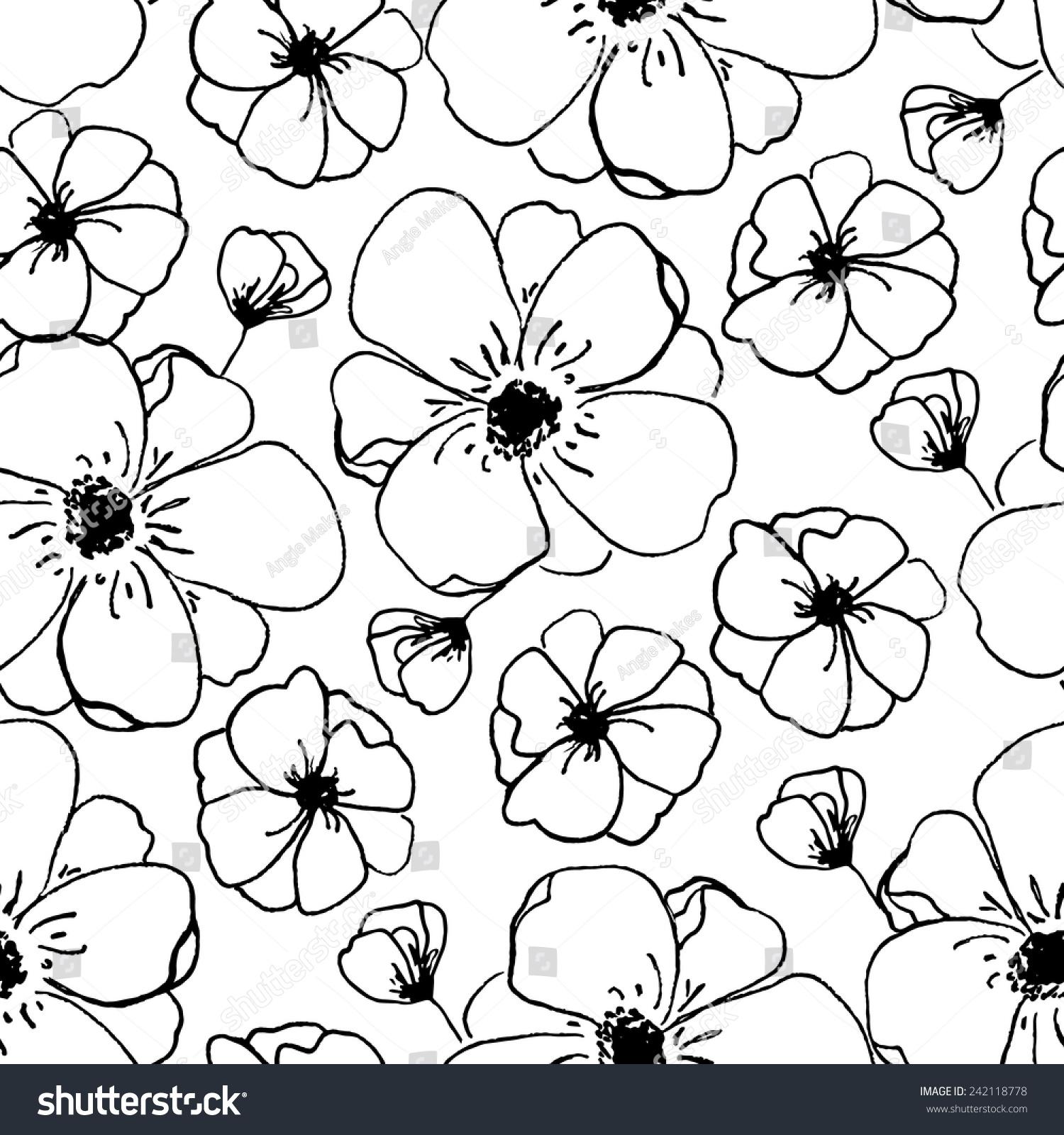 Modern black white floral pattern bloom stock vector for Modern patterns black and white