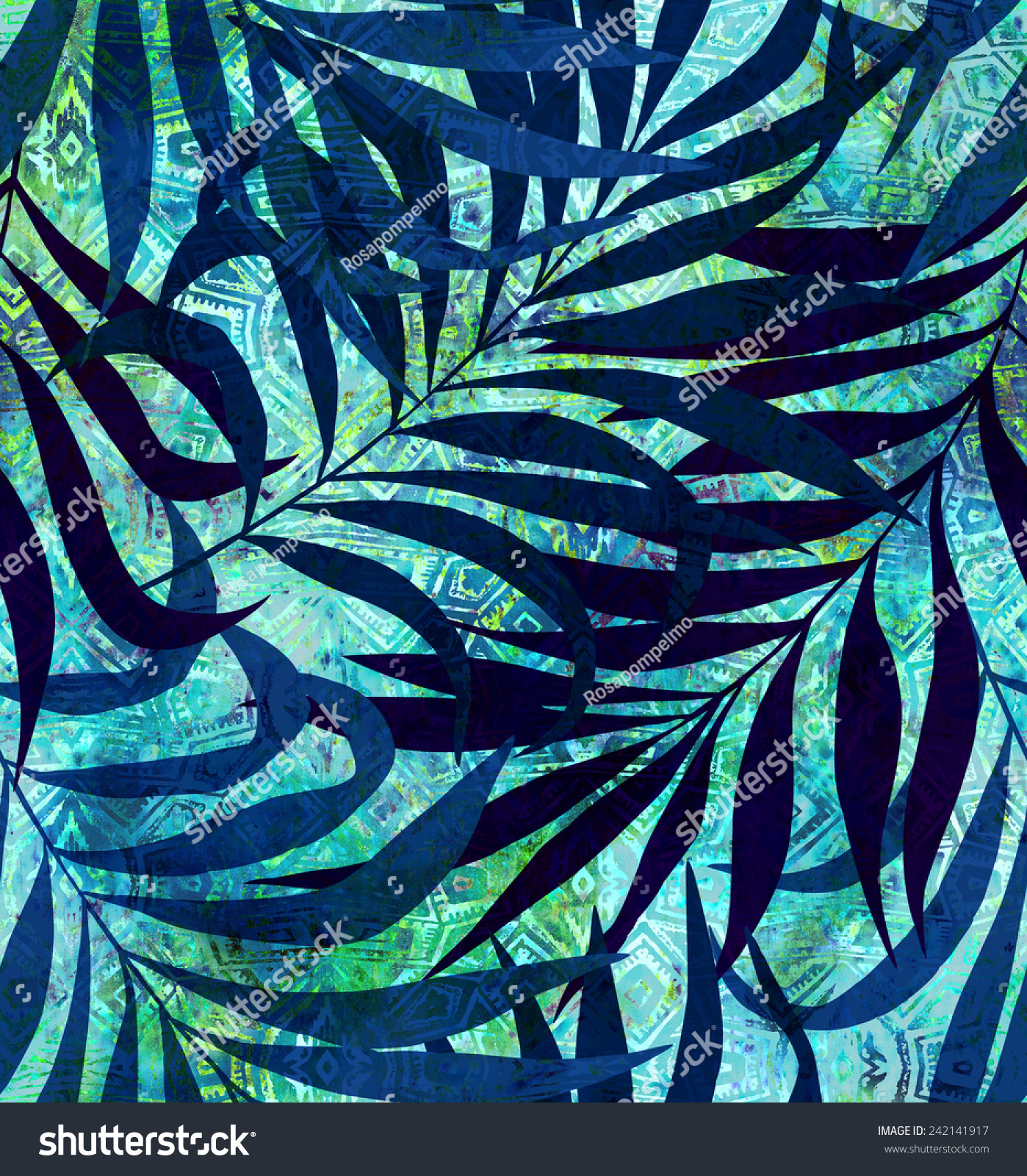 Blue Tribal Wallpapers: Seamless Tropical Foliage Pattern Exotic Palm Stock