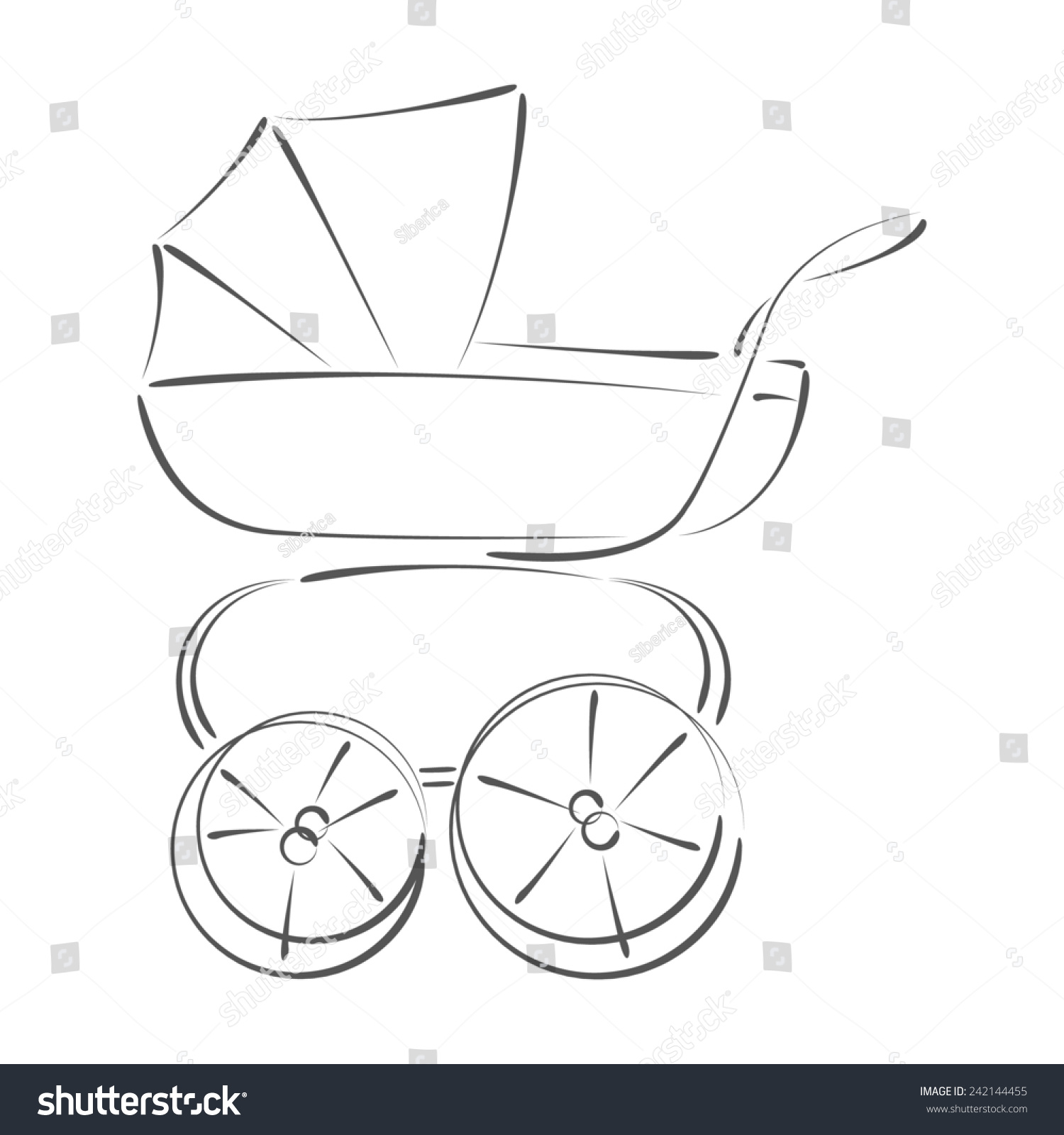 Sketched baby stroller design template label stock illustration sketched baby stroller design template for label banner postcard baby stroller raster maxwellsz