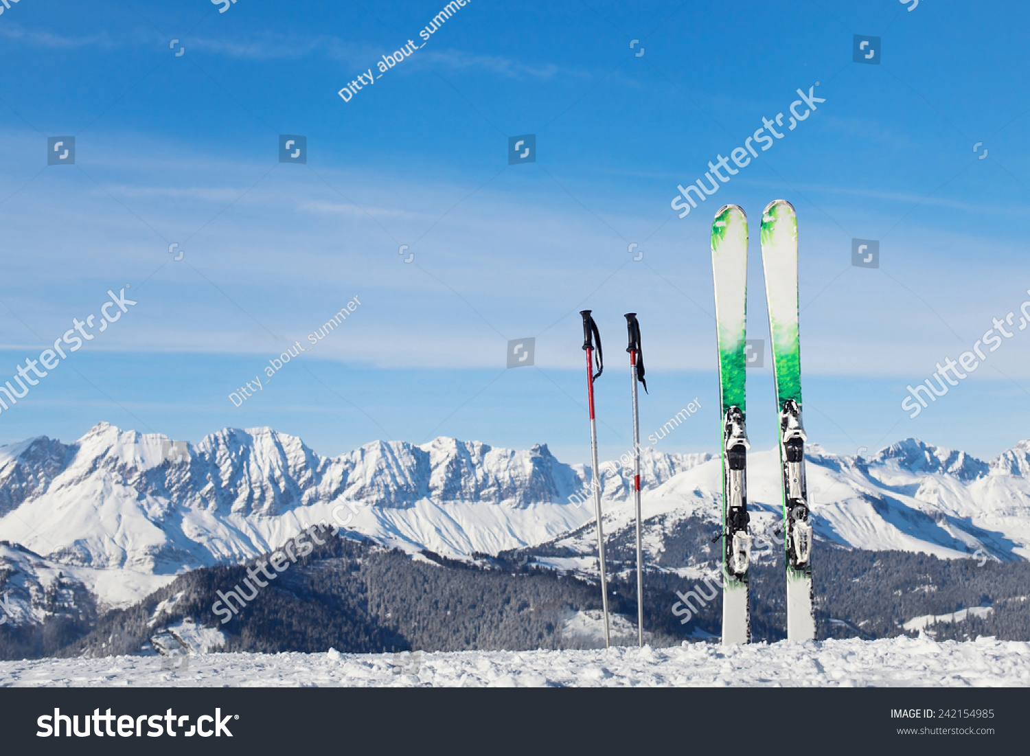 Skiing in alps ready for winter vacations stock photo for Winter vacations in us