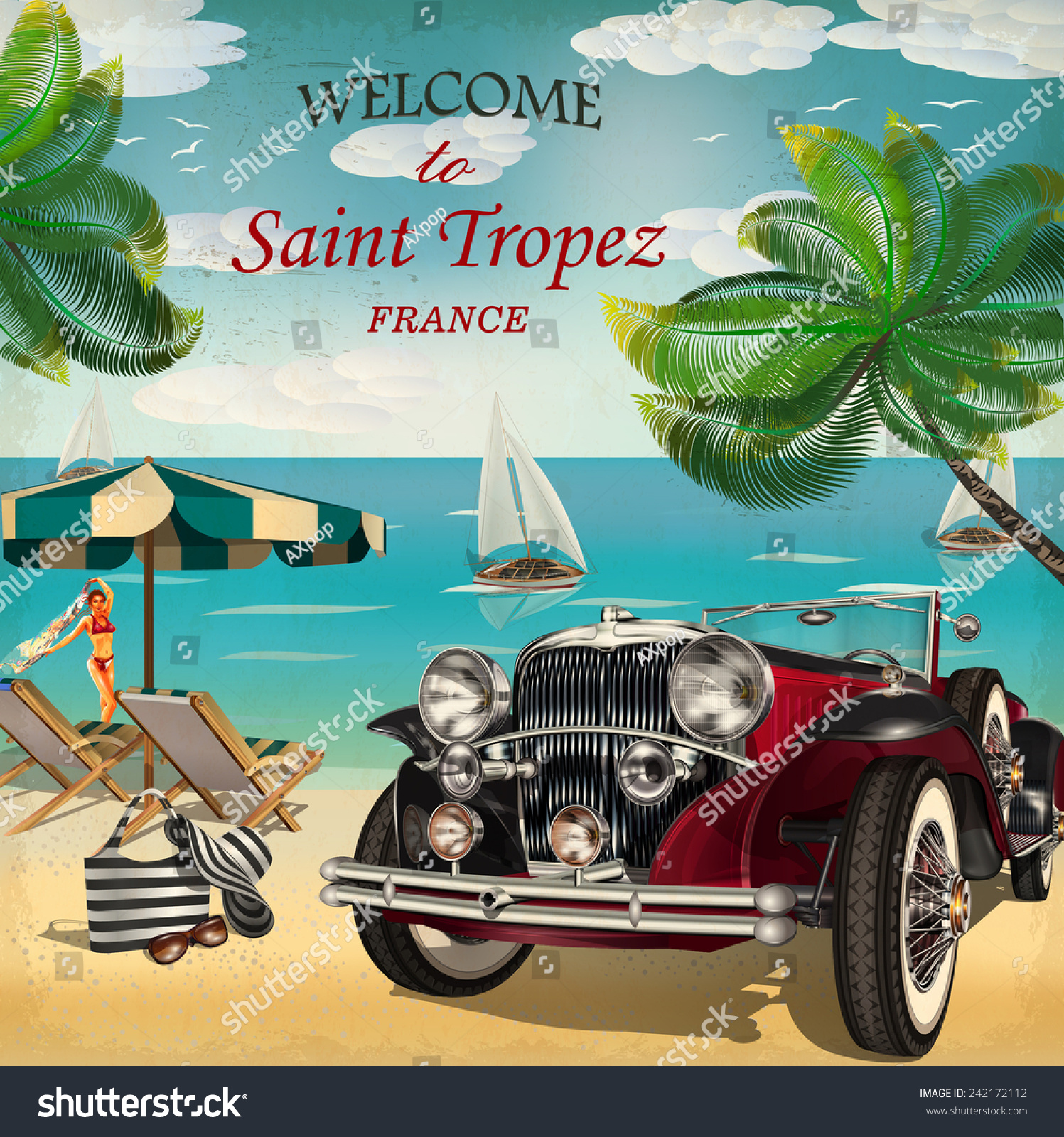 welcome to saint tropez retro poster stock vector. Black Bedroom Furniture Sets. Home Design Ideas