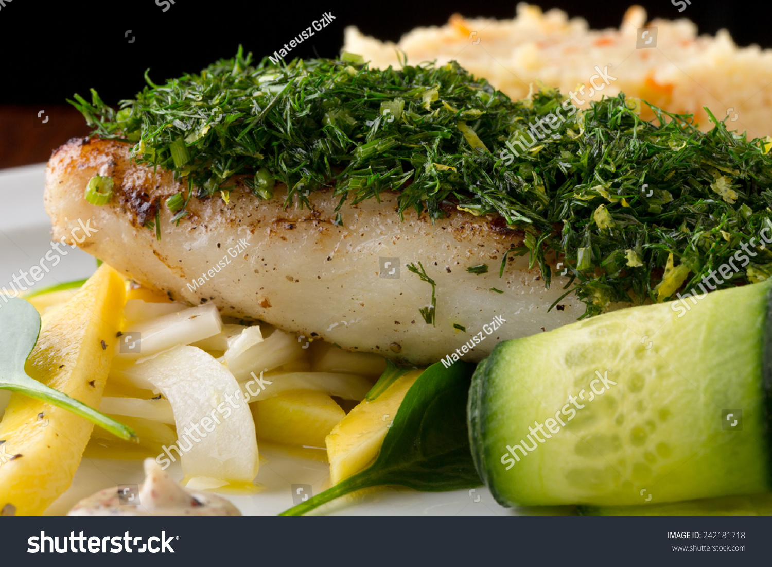 Cod fish with vegetables stock photo 242181718 shutterstock for Fish with vegetables