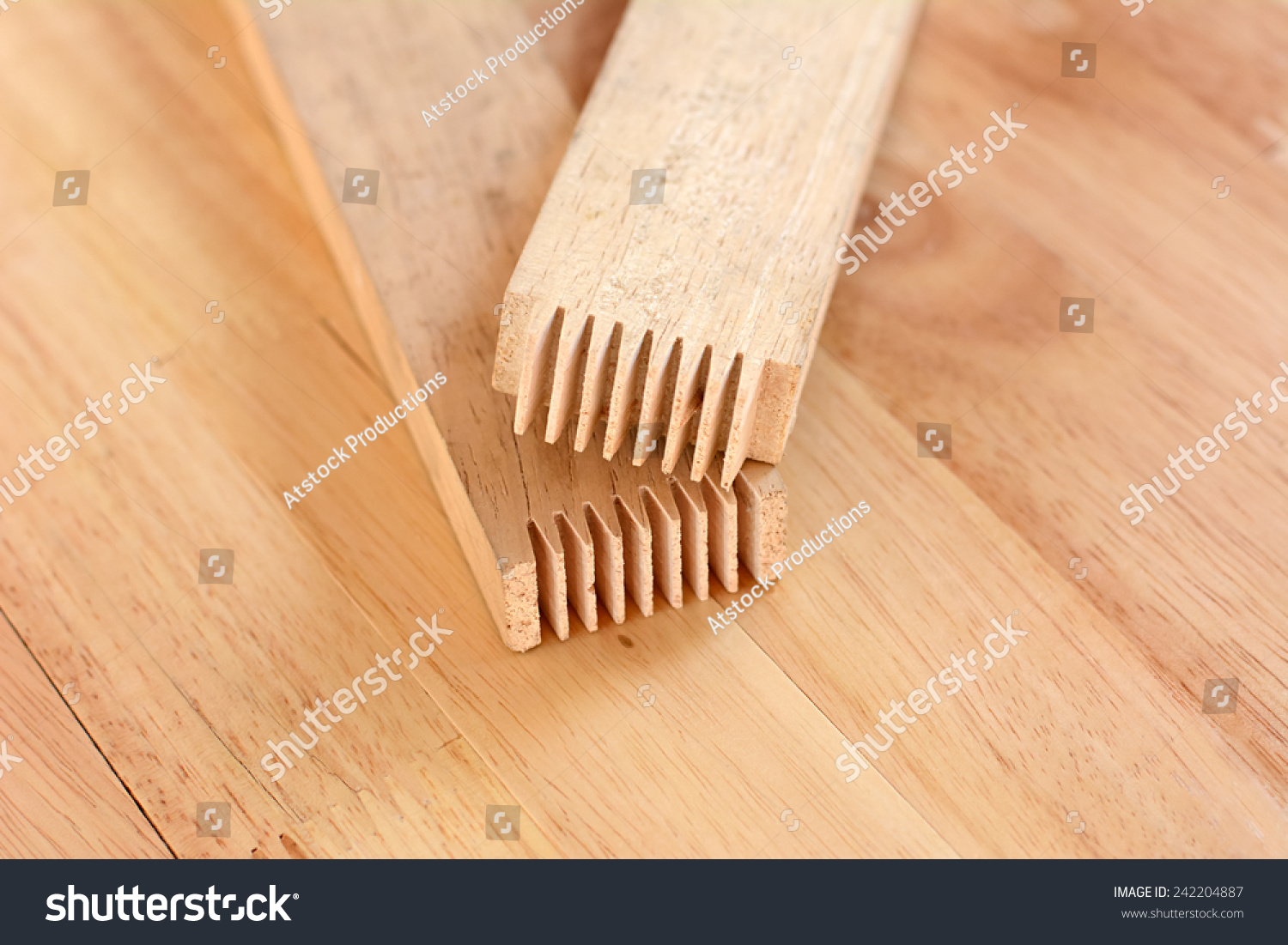 Finger Joint End Wood Sticks Or Stock Photo 242204887