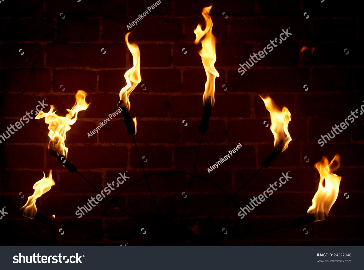 Brick Wall Medieval Castle Torch Stock Photo 24222046