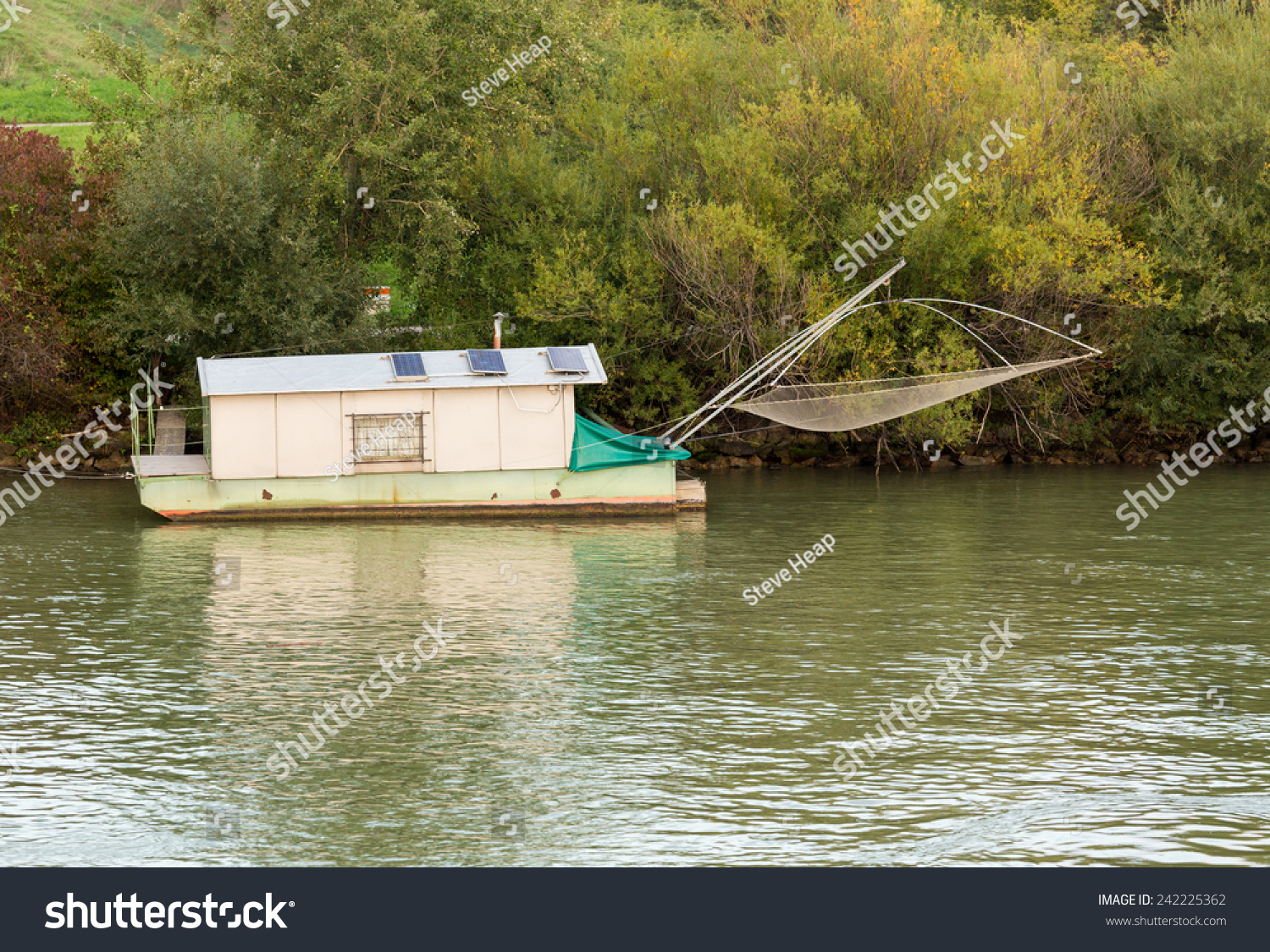 Latest Small Houseboat On Side Of River Danube Used For Fishing Near Vienna  Austria With Small Houseboat.
