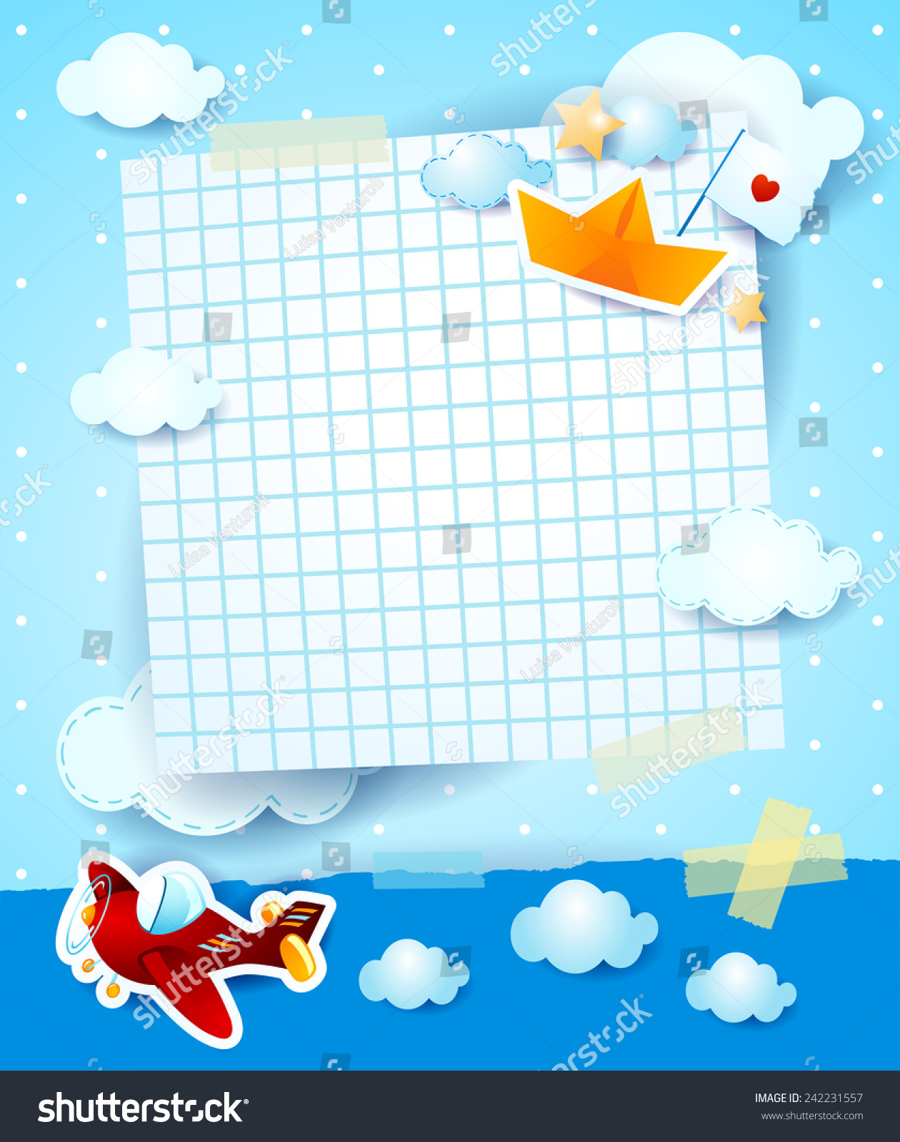 Baby Shower Invitation Airplane Paper Boat Stock Vector