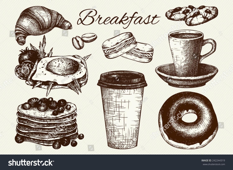 Vector set of ink hand drawn breakfast food illustration for restaurant or  cafe menu.Vintage food sketch. - Vector