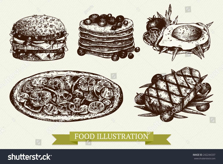Vector set of ink hand drawn food illustration for restaurant or cafe menu. Vintage  food