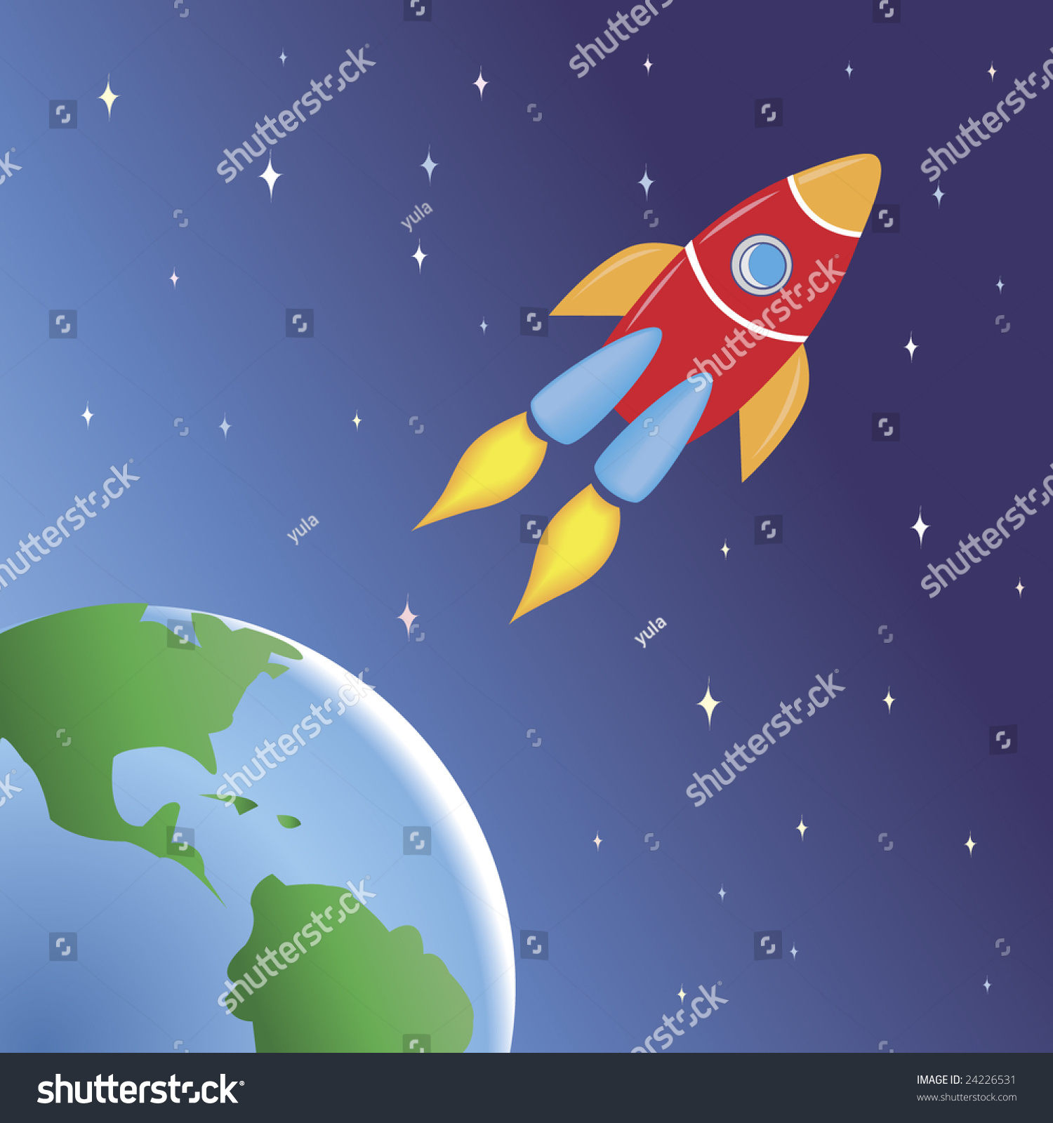 Rocket flying space out earth stock vector 24226531 for Flying spaces