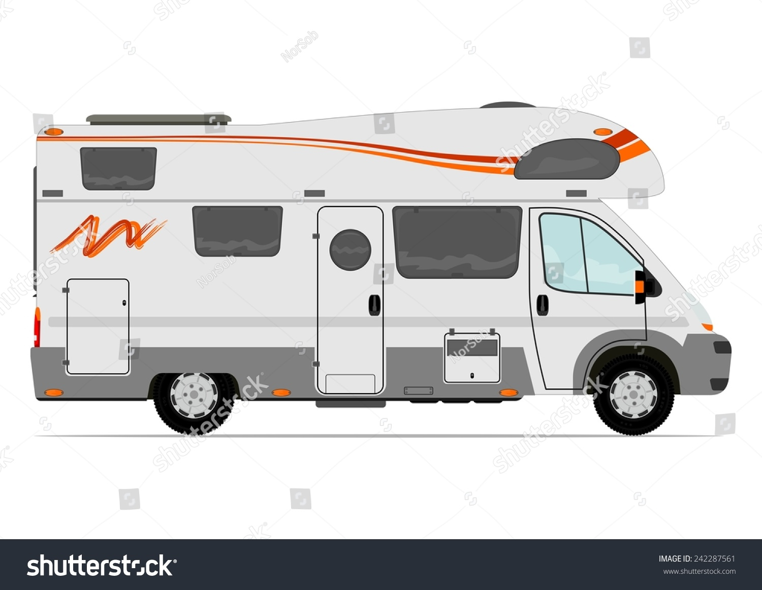 Modern Camper Van Vector Without Gradient Stock Vector 242287561