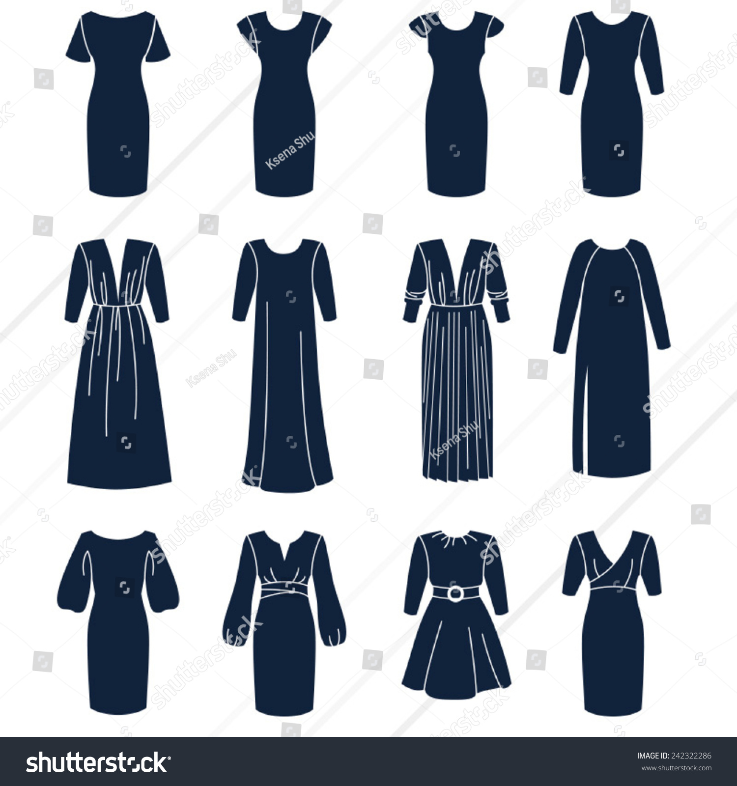 Different Types Women Dresses Sleeves Solid Stock Vector 242322286 - Shutterstock