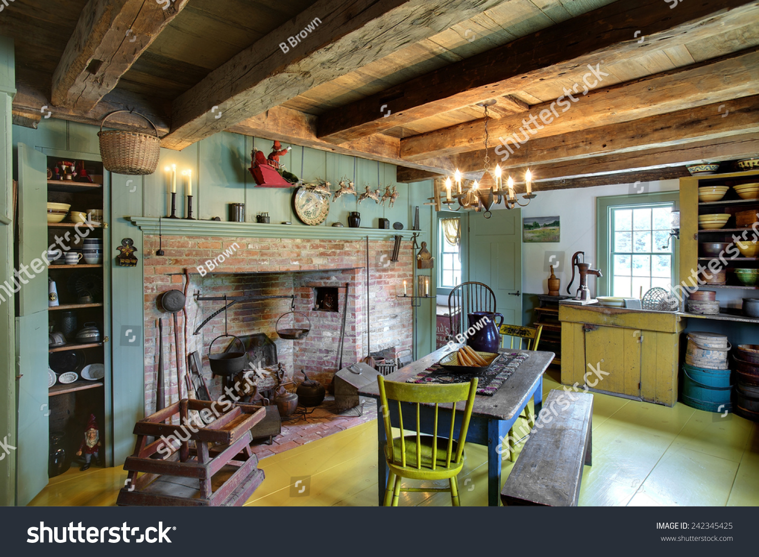 Colonial Kitchen Kitchen Dining Room Fireplace 17th Century Stock Photo 242345425