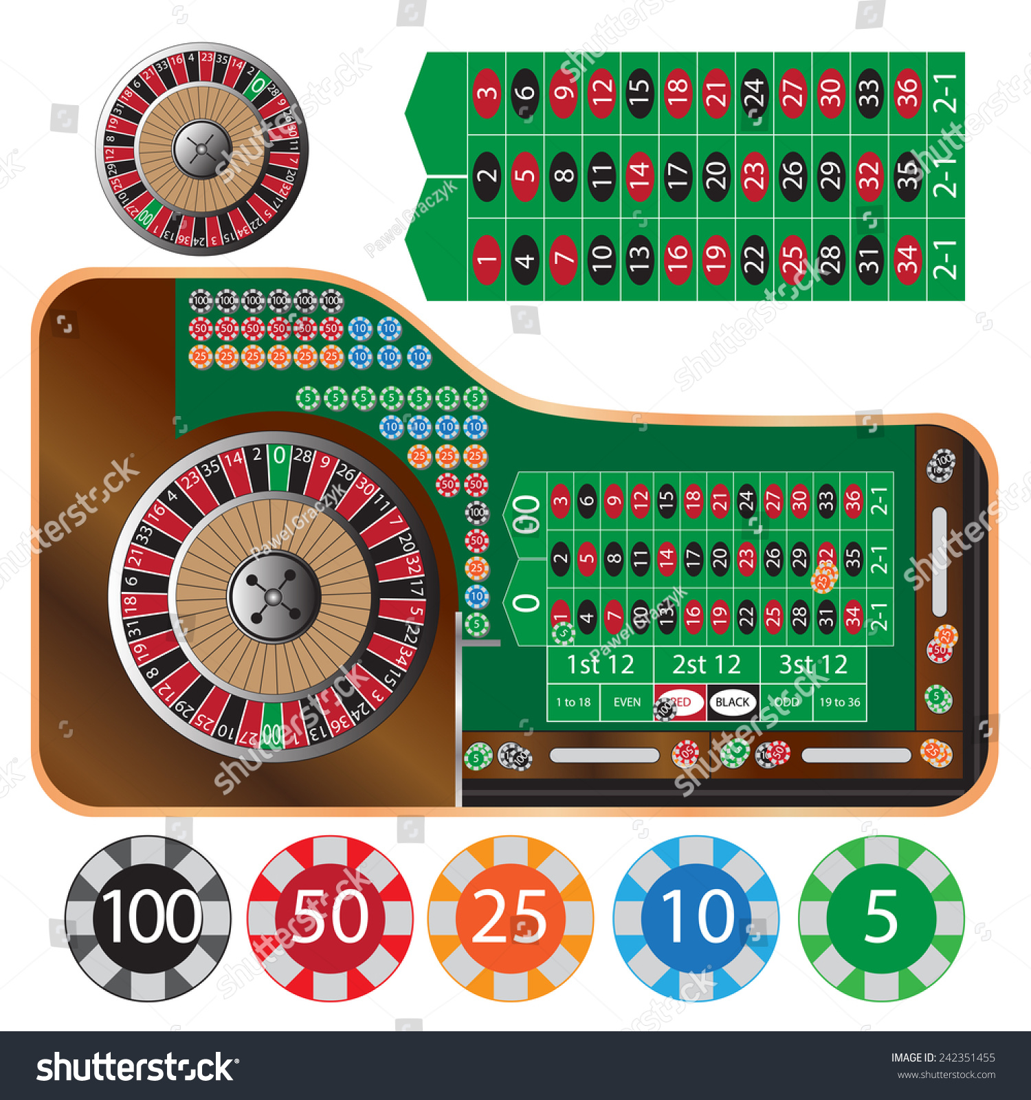 Traditional european roulette table vector illustration stock vector - Vector Illustration Of American Roulette Table And Tokens