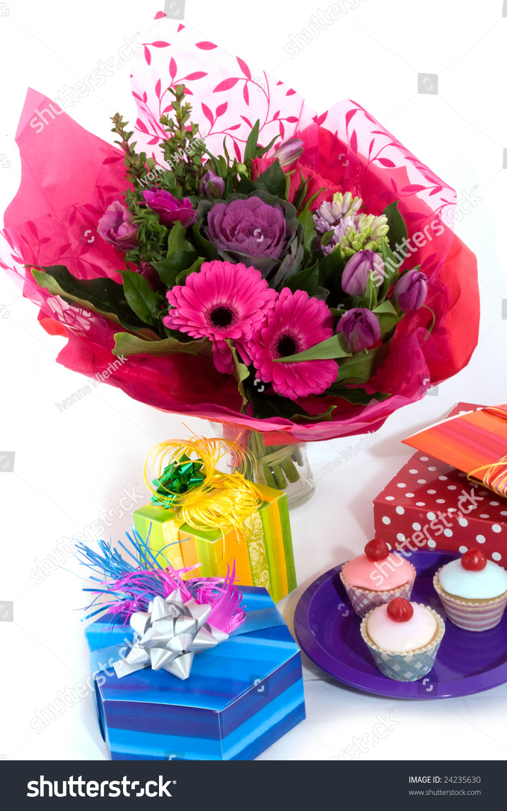 Happy birthday flowers fancy cakes presents stock photo edit now happy birthday with flowers fancy cakes and presents izmirmasajfo