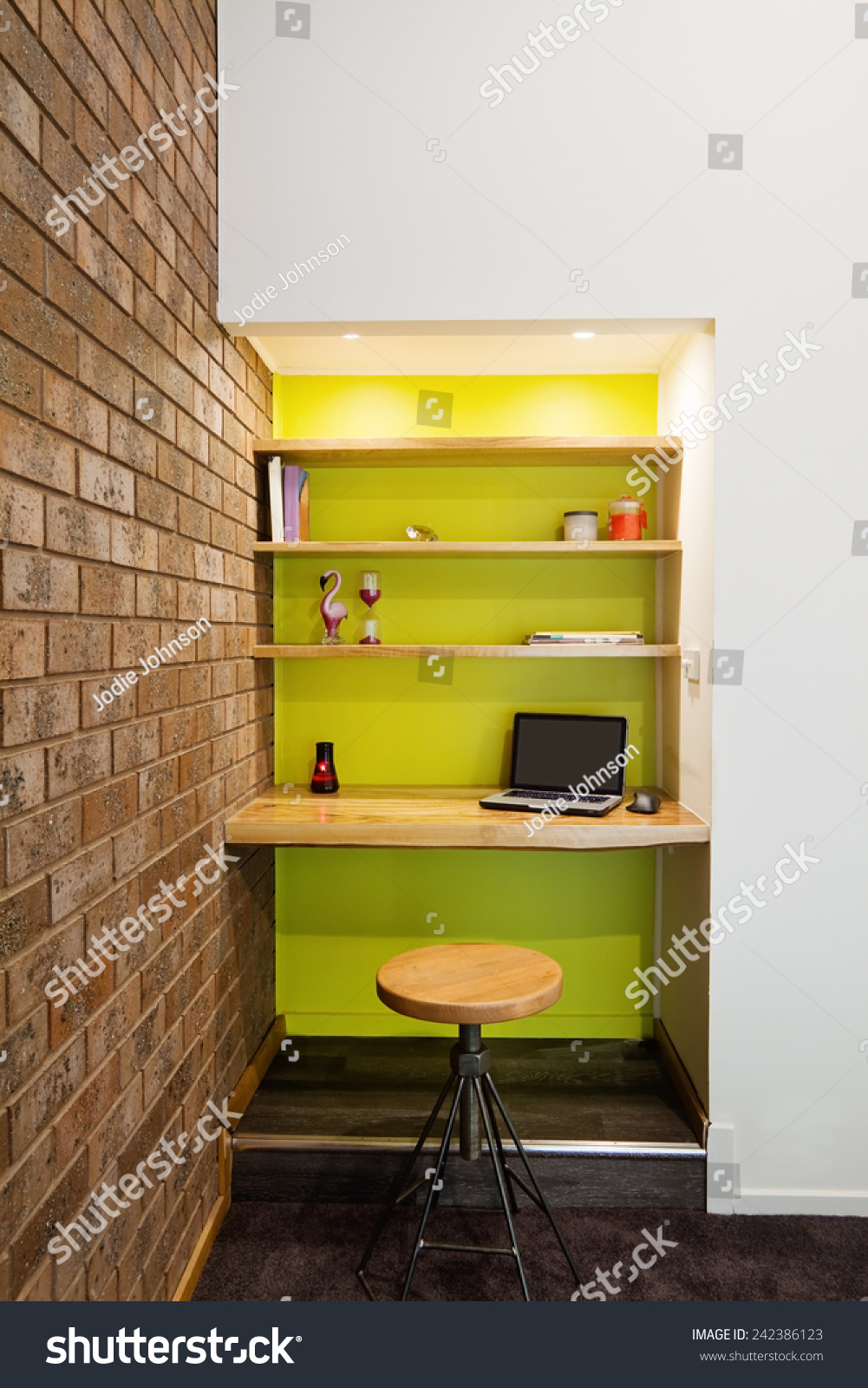Lime Green Feature Wall Study Nook In Contemporary Living
