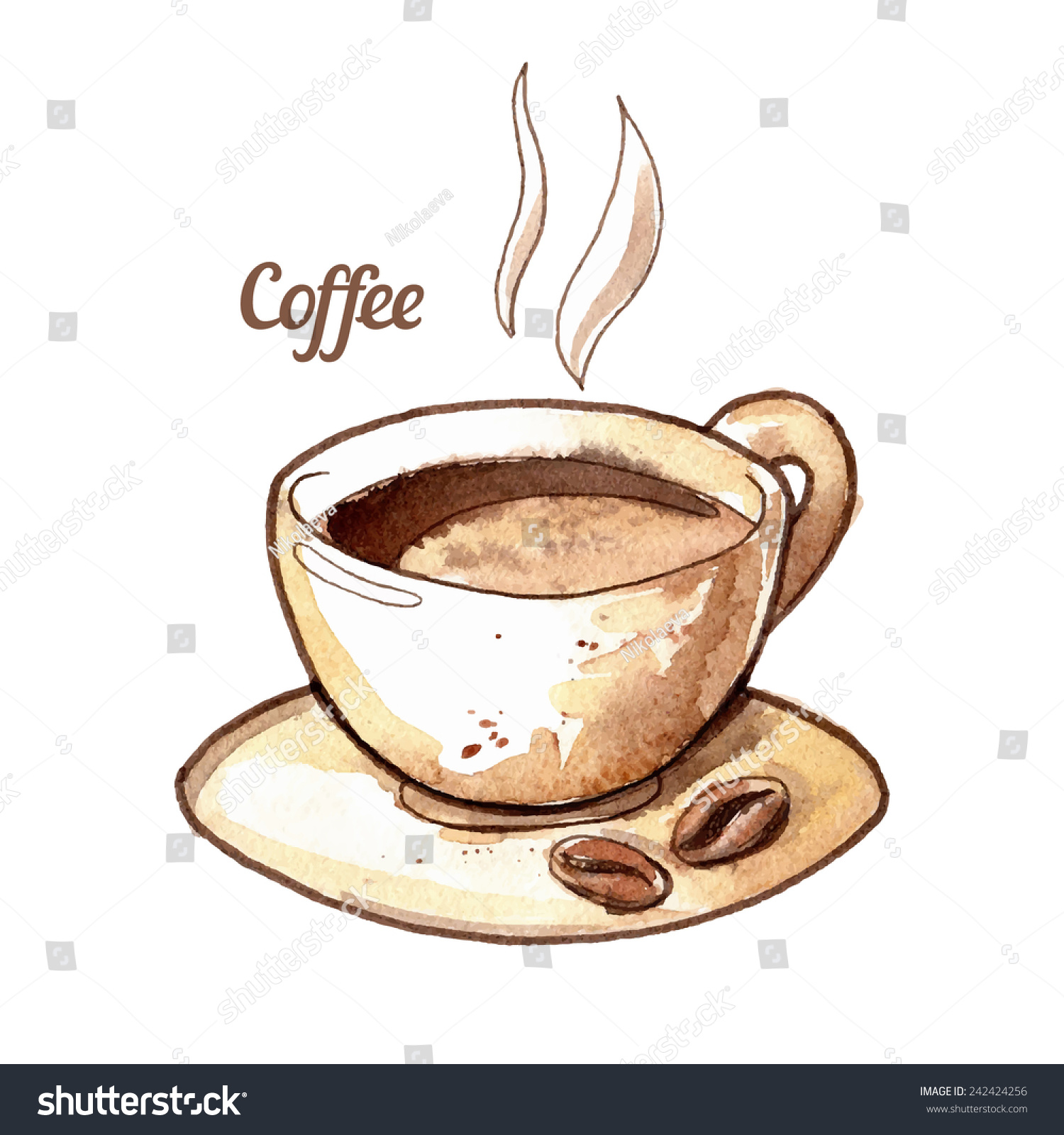 Hand drawn watercolor coffee cup illustration stock vector for Coffee watercolor
