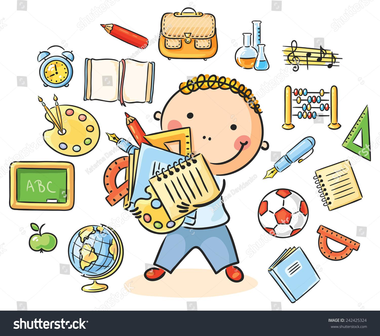 Cartoon Schoolboy Lots School Things Representing Stock Vector ...