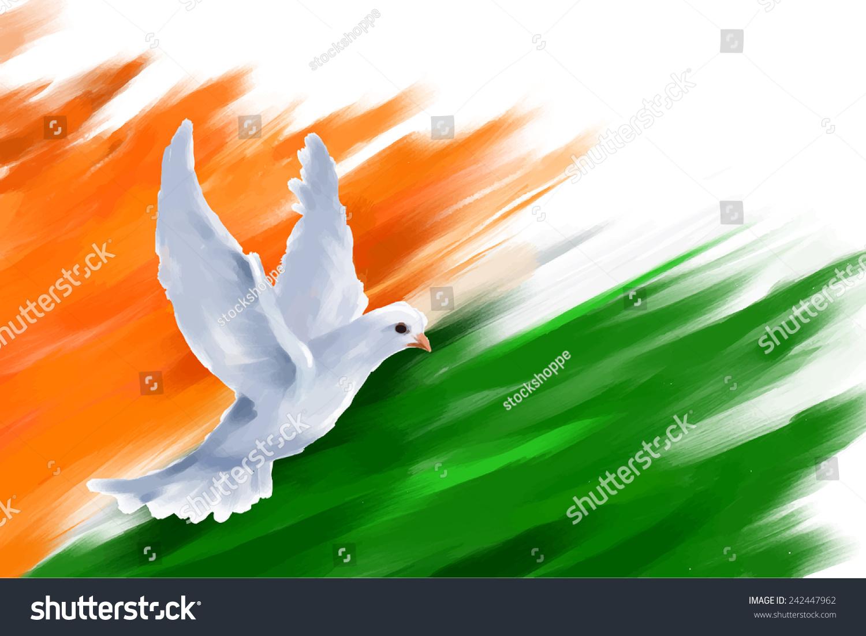 Indian Flag Flying Wallpaper: Illustration Dove Flying On Indian Flag Stock Vector