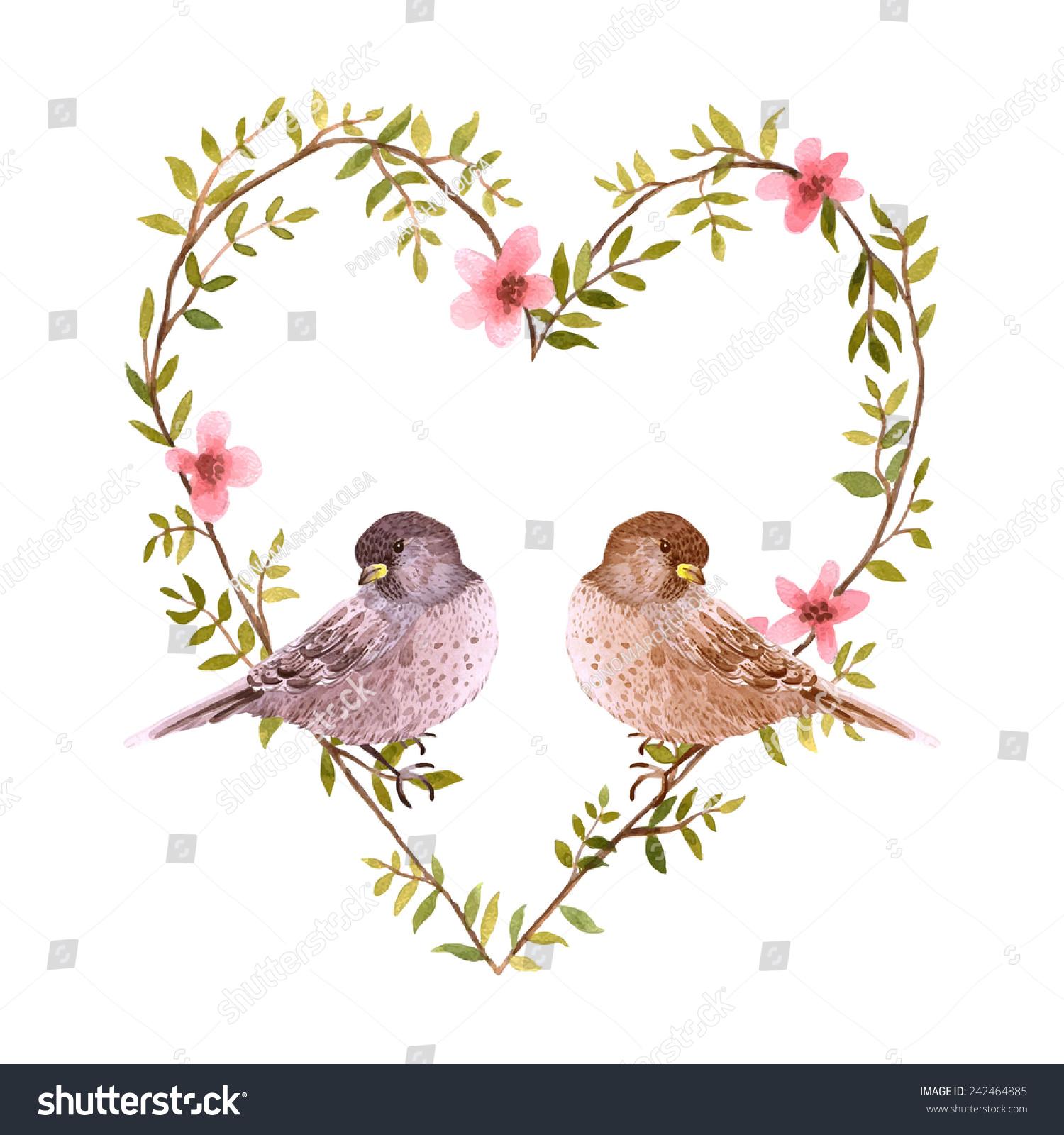 Watercolor Birds Heart Flowers Valentines Day Vector – Bird Valentine Card
