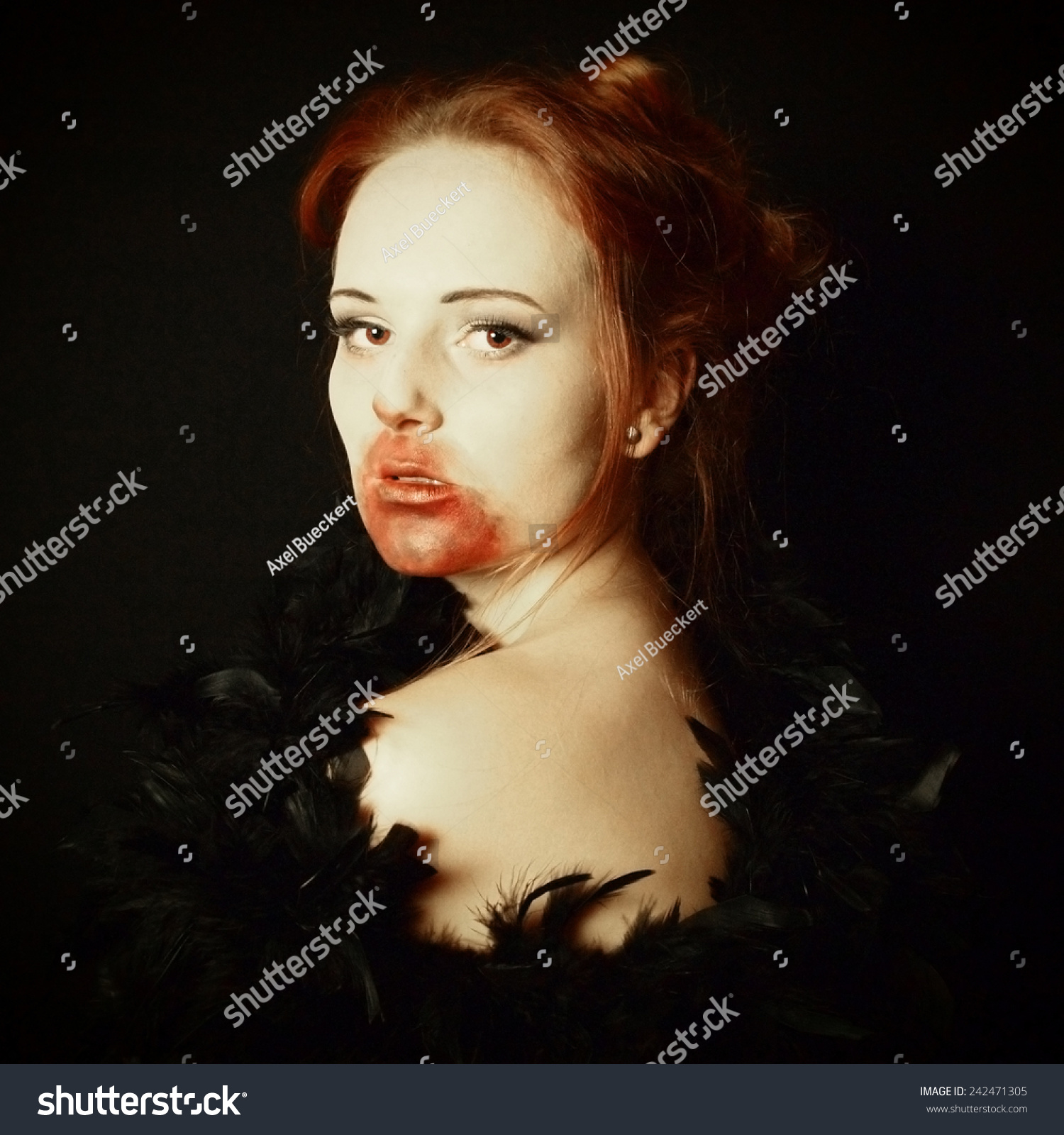 Female vampire portrayed as a glamorous vamp with art filter