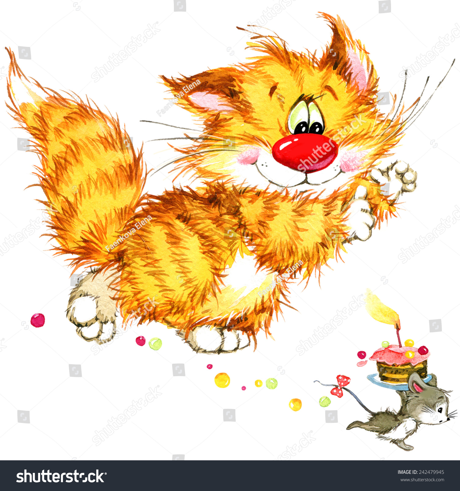Cartoon Funny Cat Element Holiday Greetings Stock Illustration ...