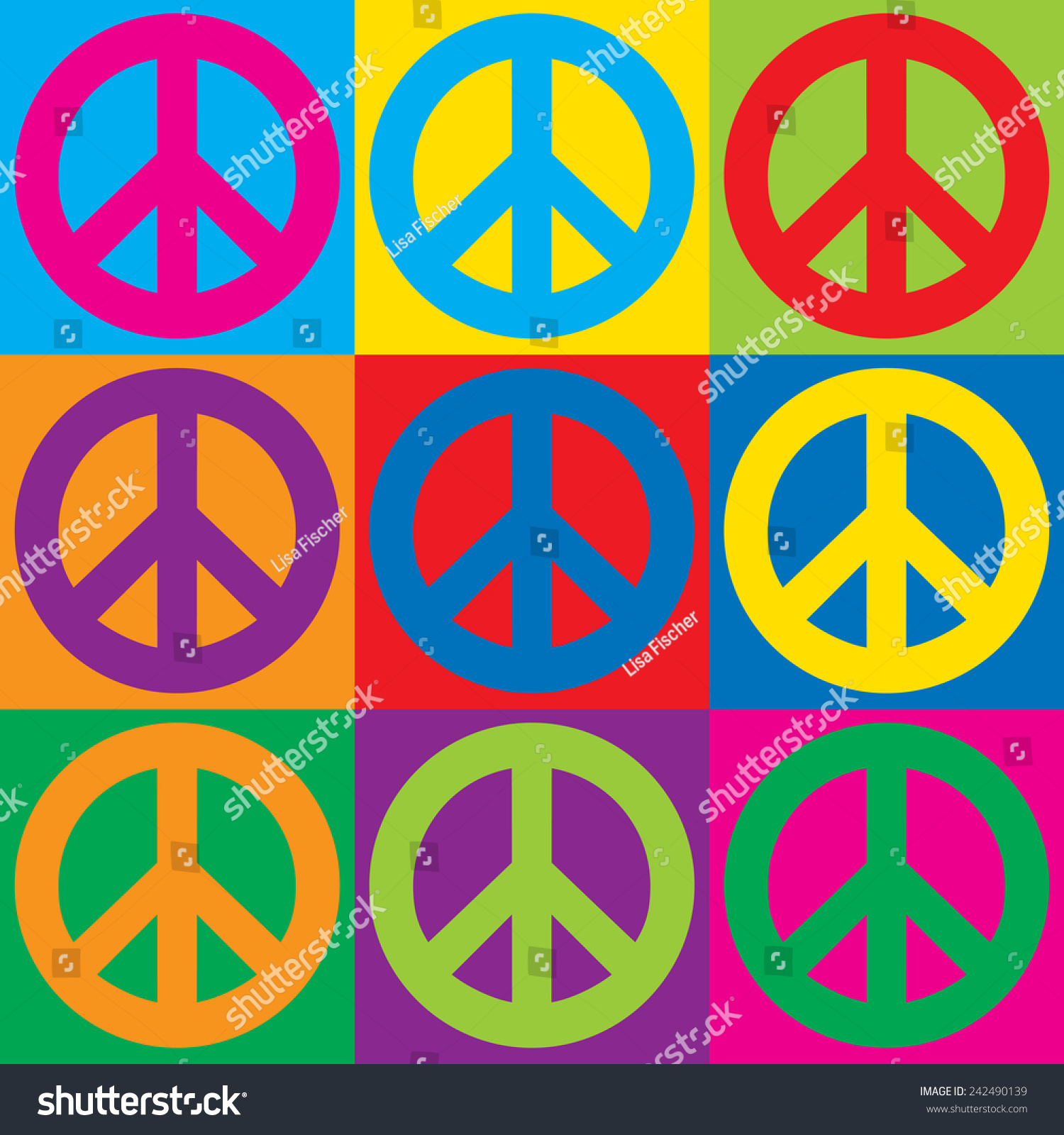 Pop Art Peace Symbols Colorful Checkerboard Stock Illustration