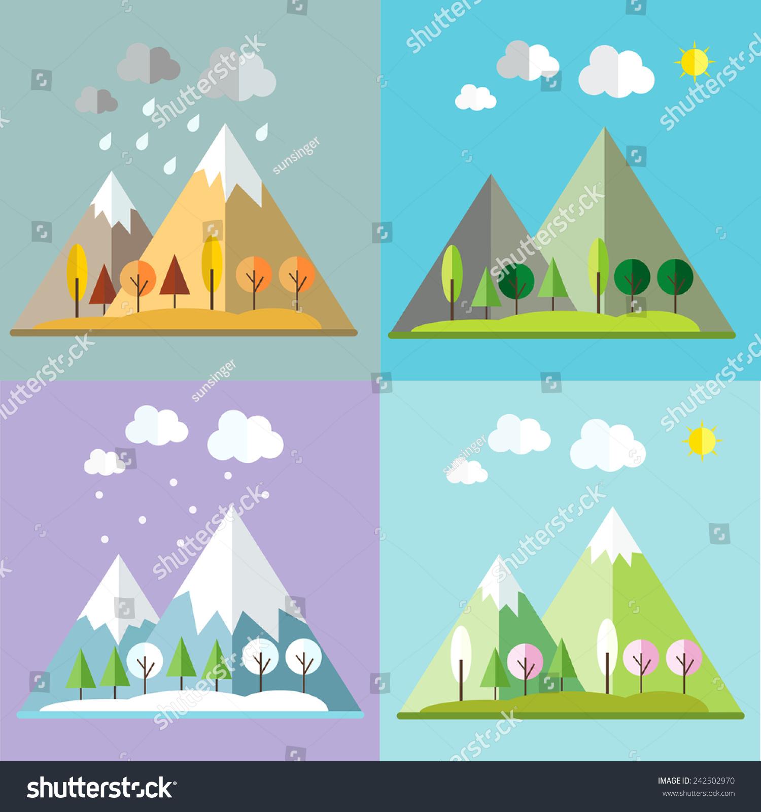 four seasons vector illustration stock vector 242502970