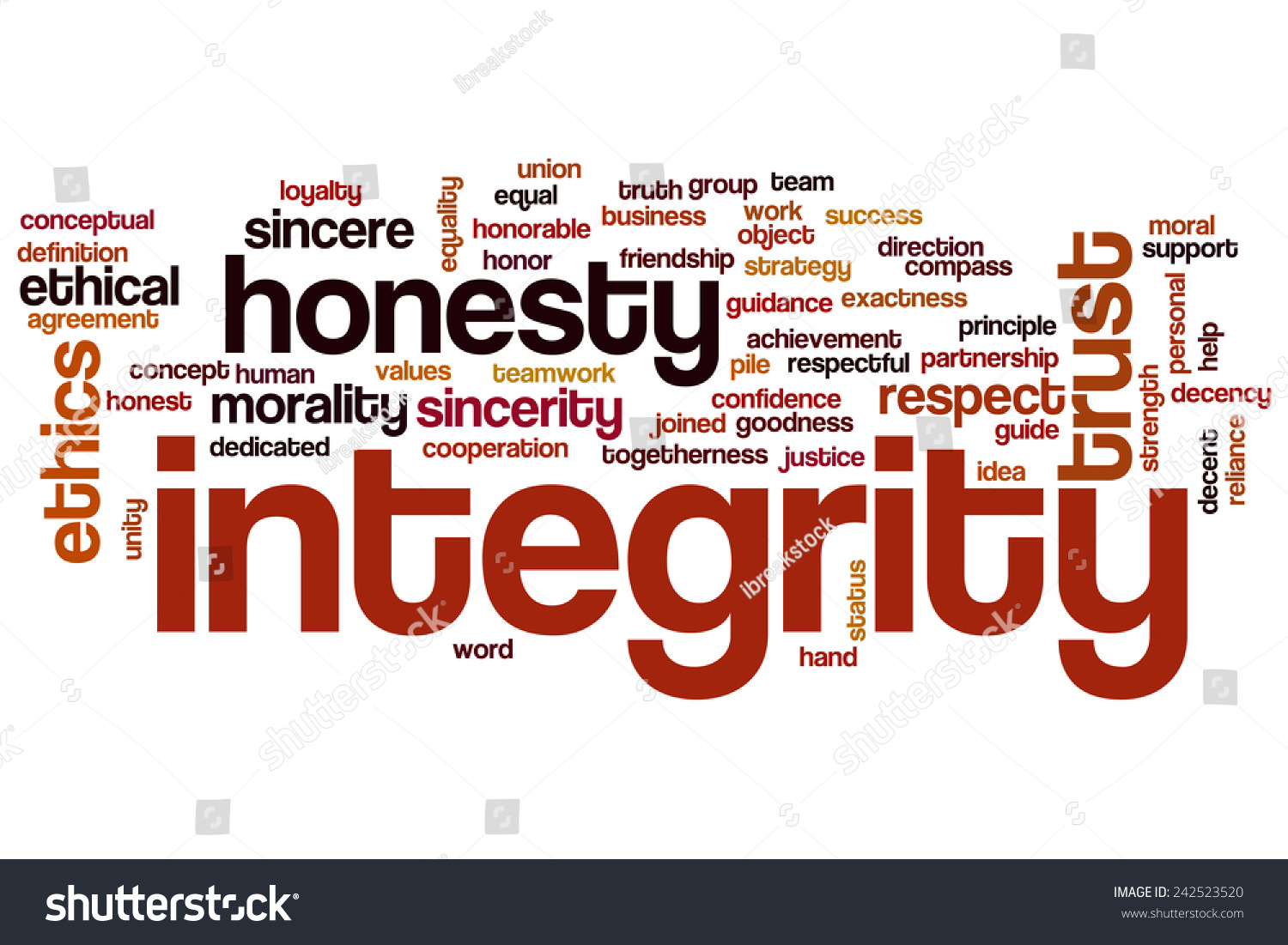 Integrity Word Cloud Concept Honesty Trust Stock Illustration