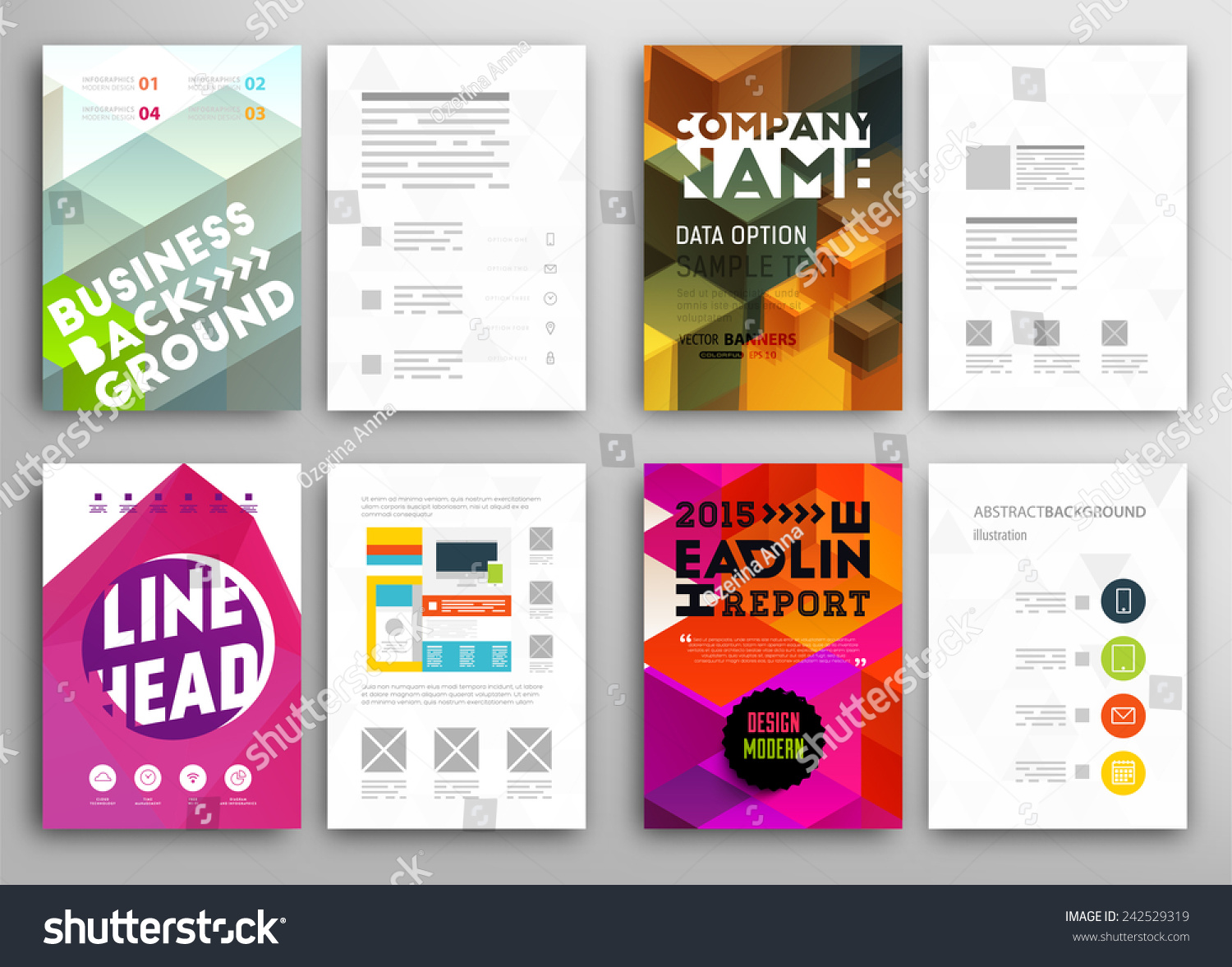 set flyer brochure design templates geometric stock vector 242529319 shutterstock