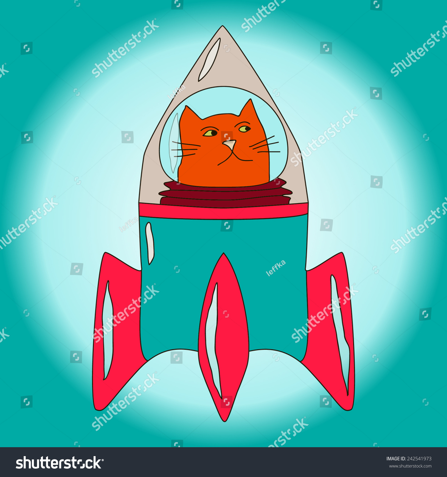 Orange Cat In Space Suit Inside Blue And Red Rocket ...