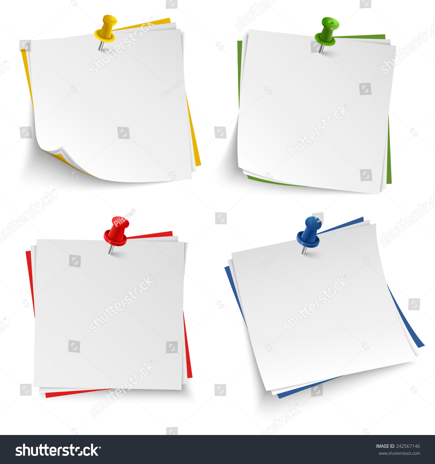 Note Paper With Push Colored Pin Template  Note Paper Template