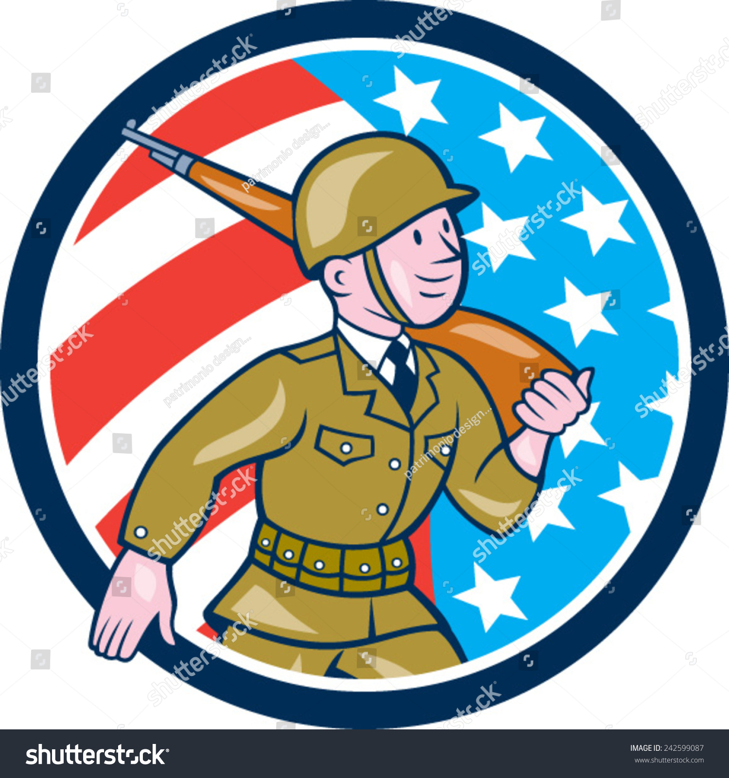 76d980b9641 Illustration of a World War two American soldier serviceman marching with  assault rifle viewed from side set inside circle with American Stars and  stripes ...