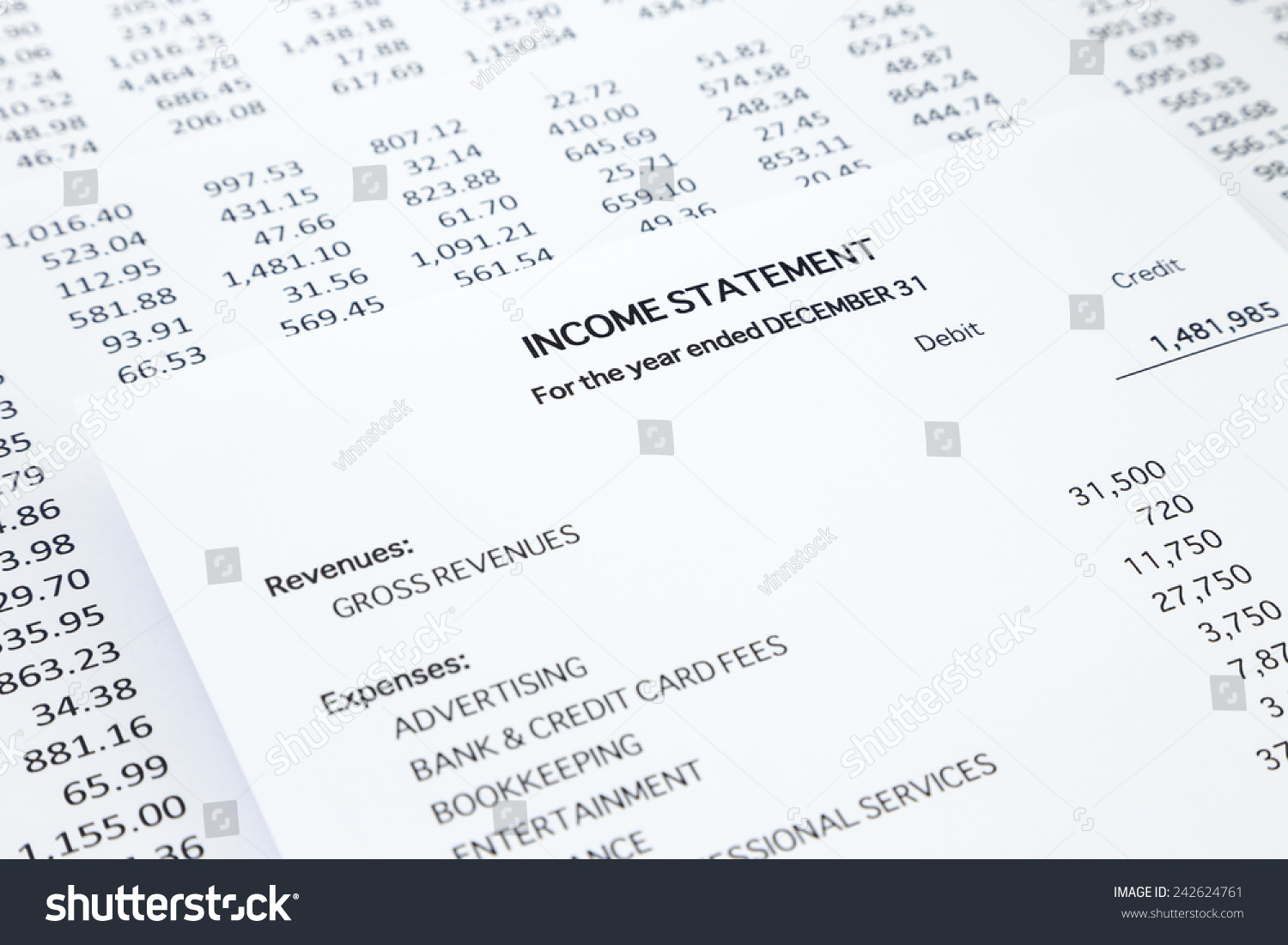 Income Statement With Detail List Of Revenues And Expenses, Accounting  Concept For Small Business,