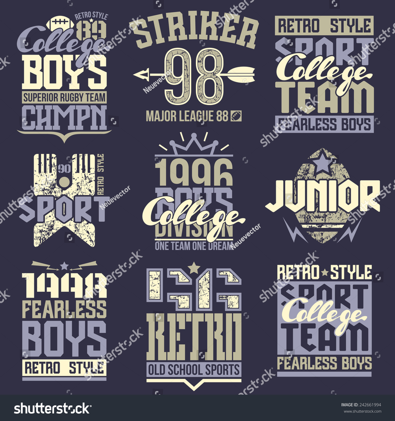 Design t shirt rugby - Design T Shirt Rugby College Rugby Team Emblems In Retro Style Trendy Graphic Design For