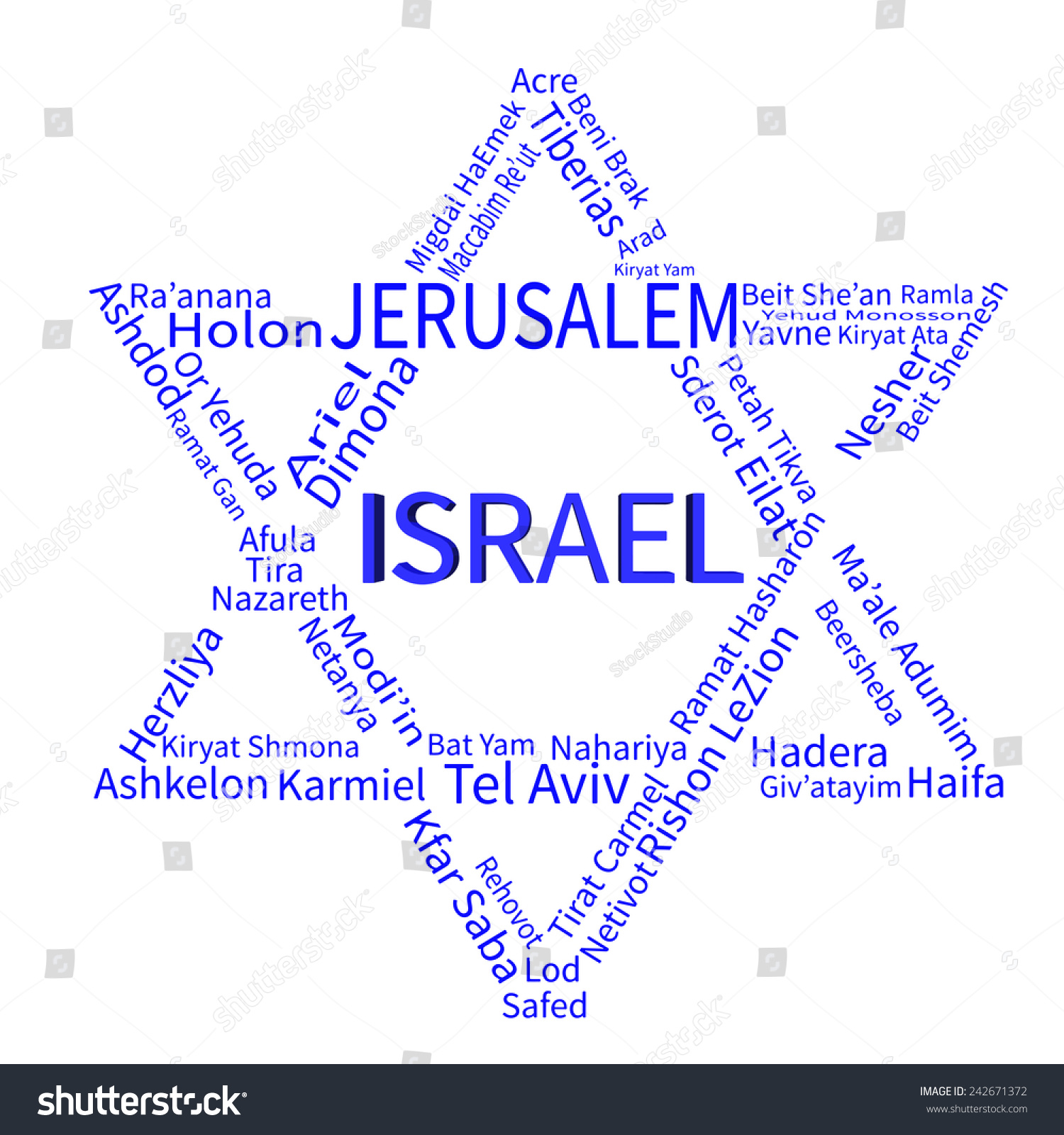 Star David Made By List Israeli Stock Vector Royalty Free Yam Wiring Diagram Of A Cities