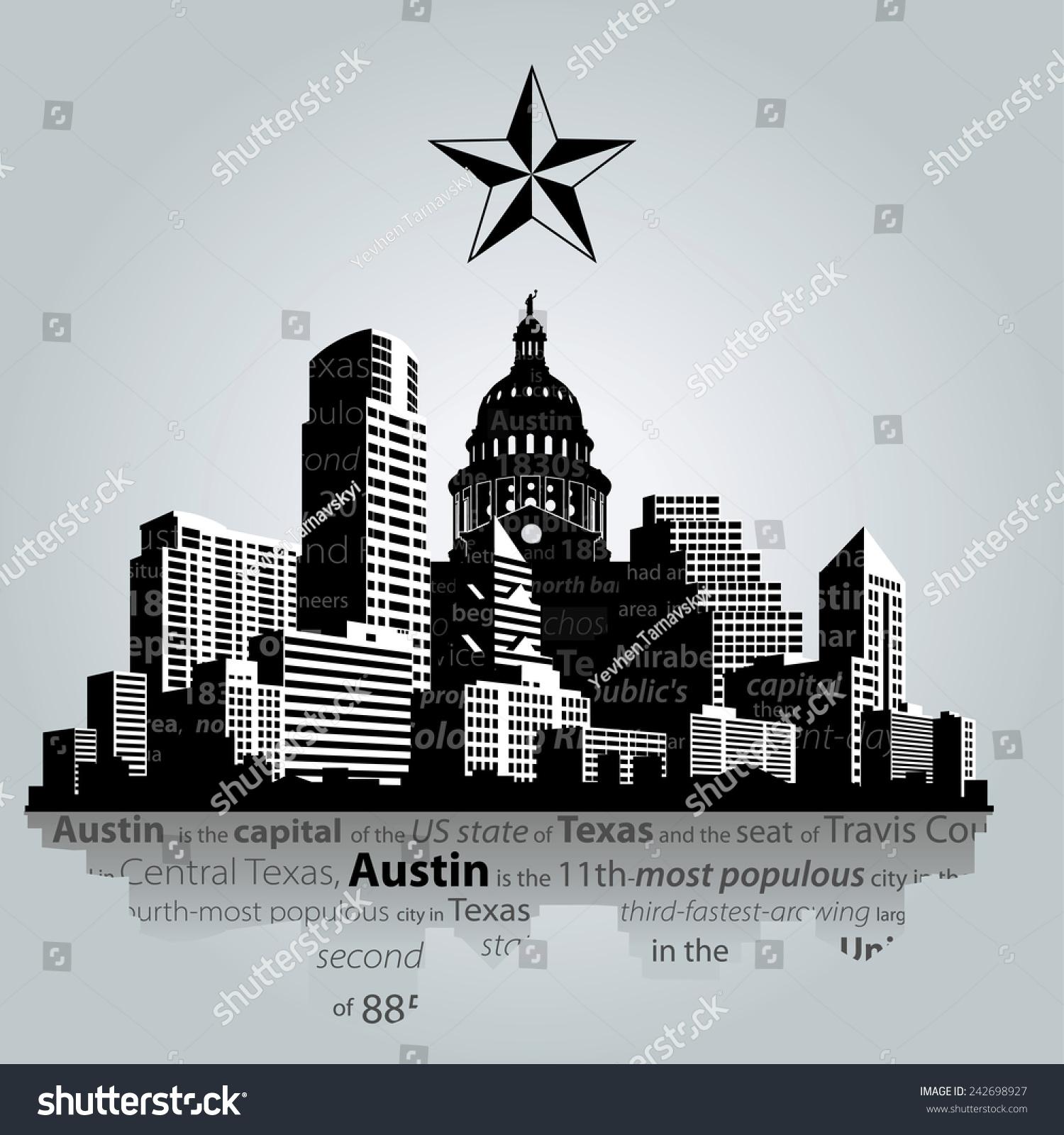 Vector Austin City Capital Texas Silhouette Vector de stock242698927 ...