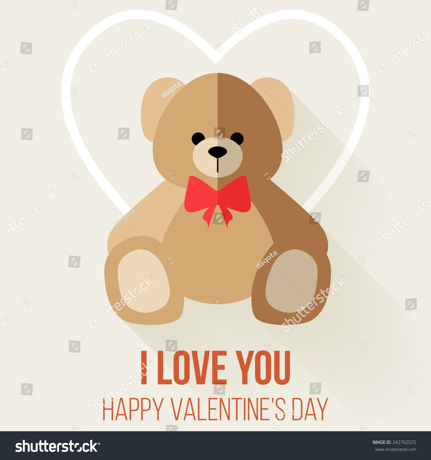 Teddy Bear Valentines Day Card Vector Vector 242762572 – Teddy Bear Valentines Day Card