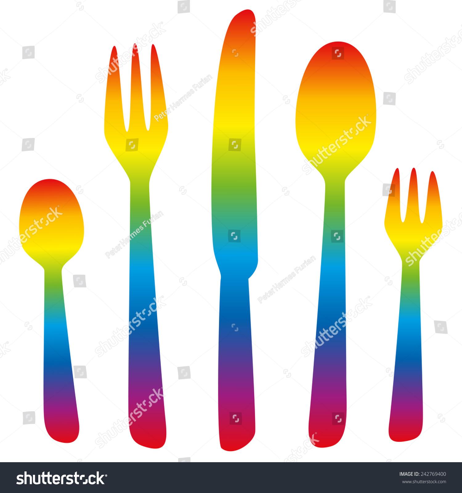 Cutlery Teaspoon Fork Knife Spoon Dessert Stock Vector 242769400 ...